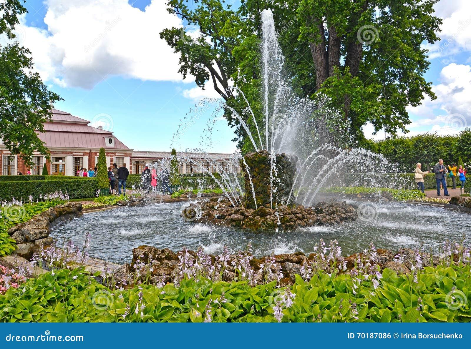 Peterhof russia Kärven springbrunn i den Monplezirsky trädgården