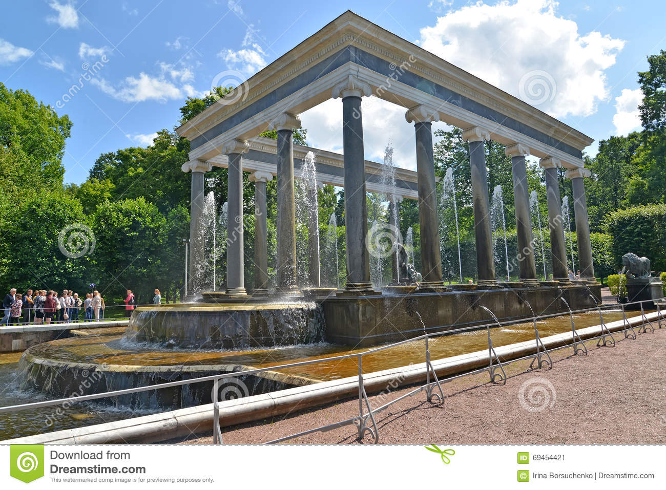 Peterhof Russia  city photos : PETERHOF, RUSSIA JULY 24, 2015: The Lion's cascade in Nizhny park.