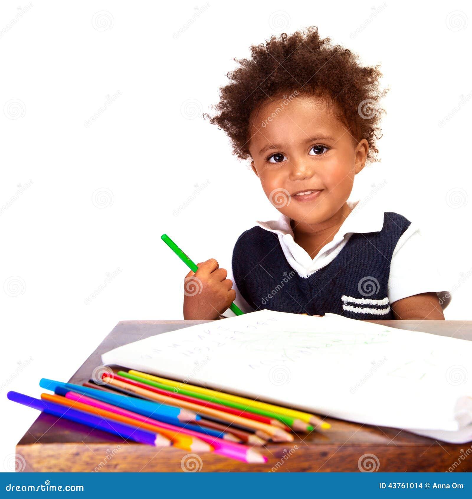 Ecolier petit écolier noir photo stock. image du enfance, beau - 43761014