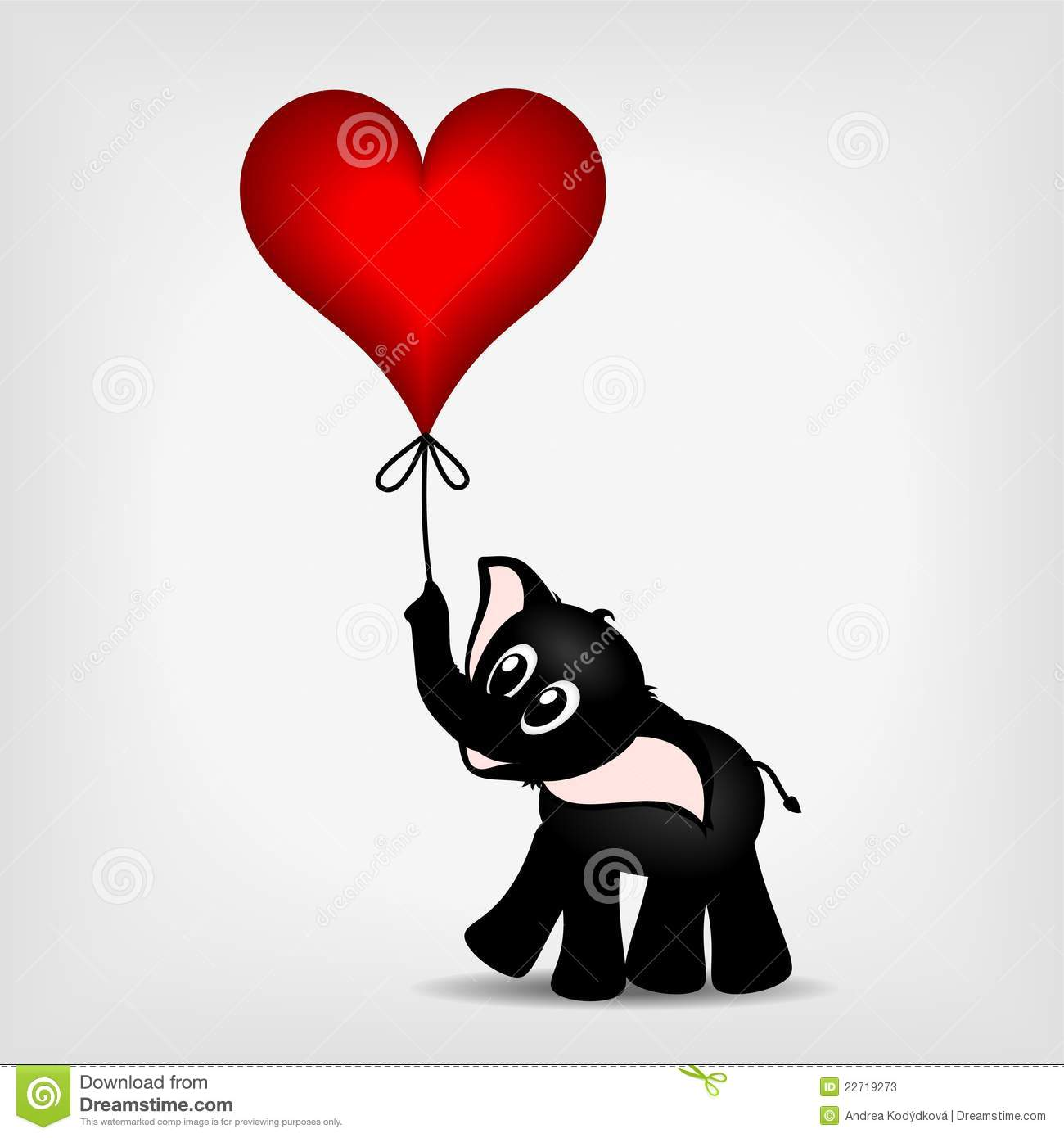 petit l phant noir avec le coeur rouge ballon. Black Bedroom Furniture Sets. Home Design Ideas