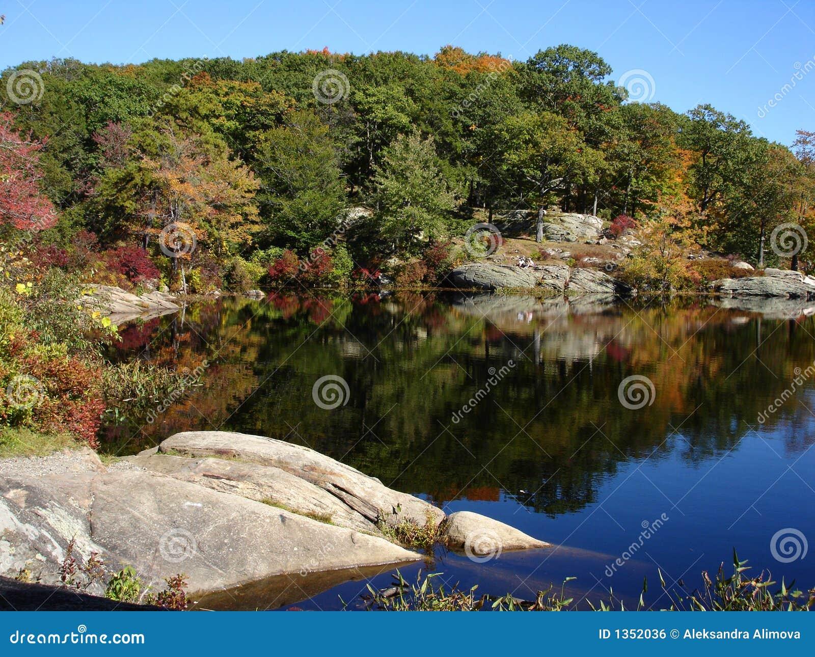 Petit étang en stationnement d état de Harriman, NY