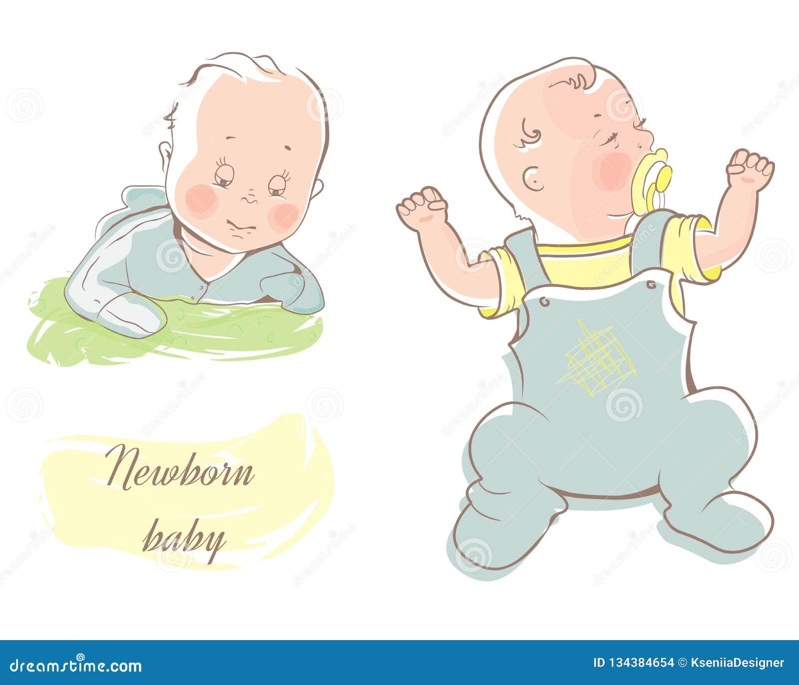 Petit bébé mignon Bébé garçon de rampement dans la combinaison bleue