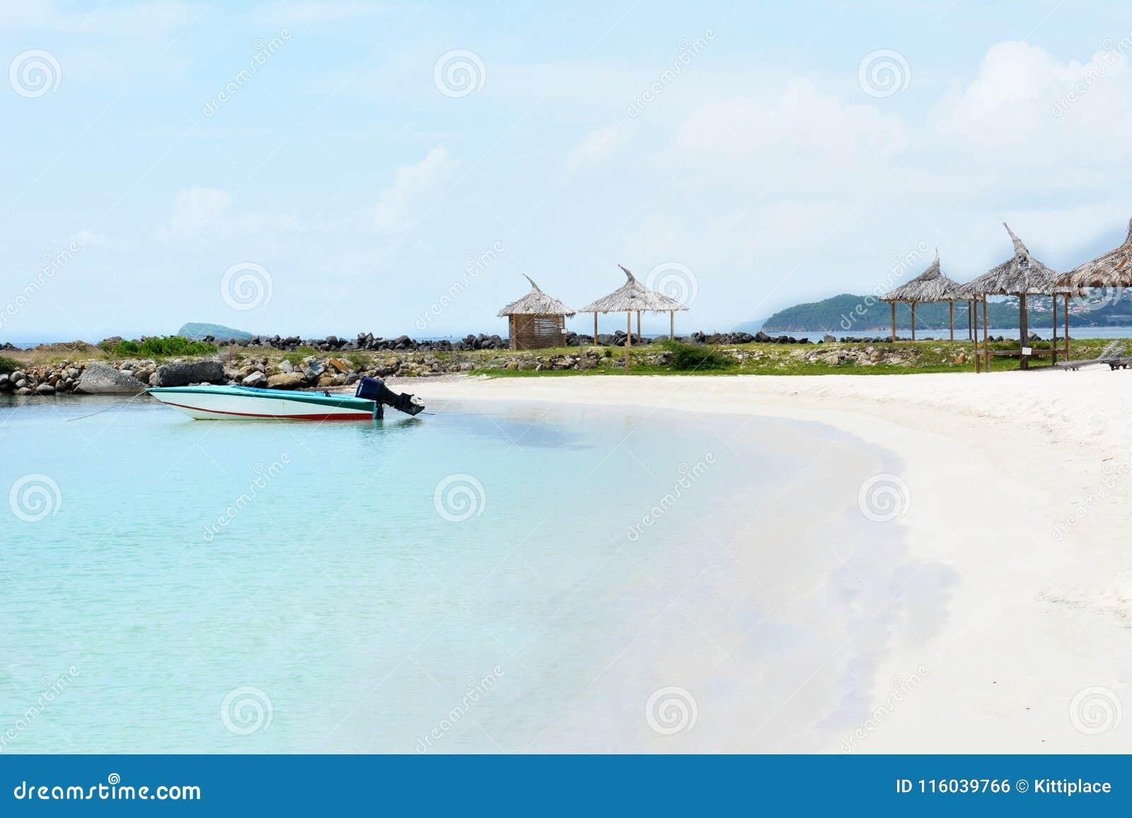 Petit bateau isolé Plage blanche de sable sur l île des syndicats Saint-Vincent-et-les-Grenadines
