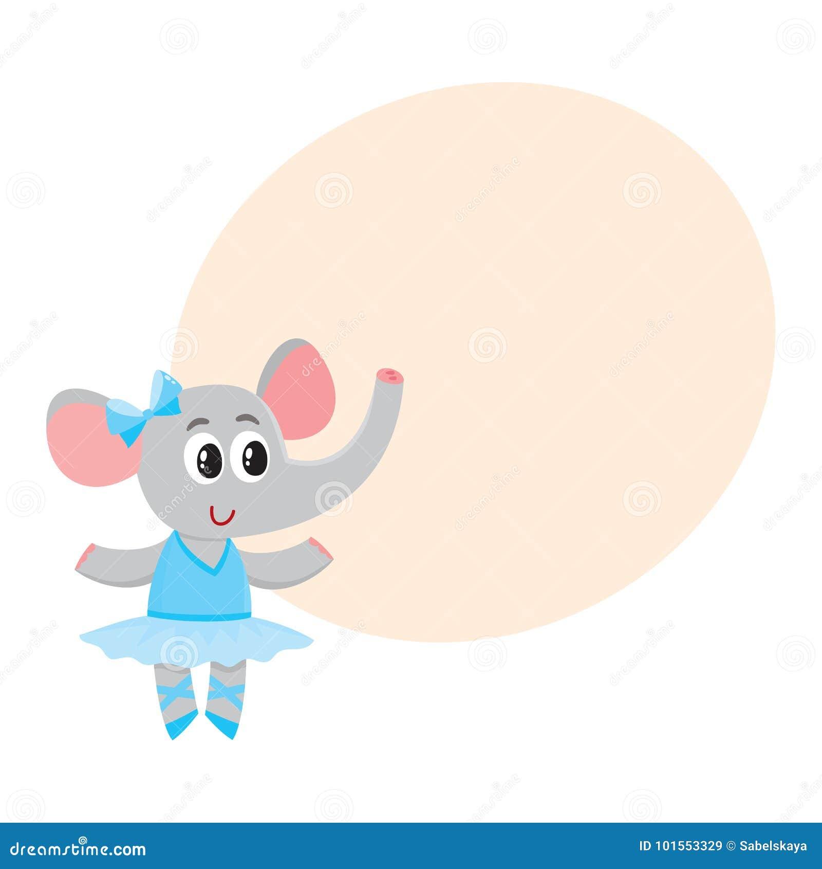 Petit caractère mignon d éléphant, danseur classique dans la jupe de tutu
