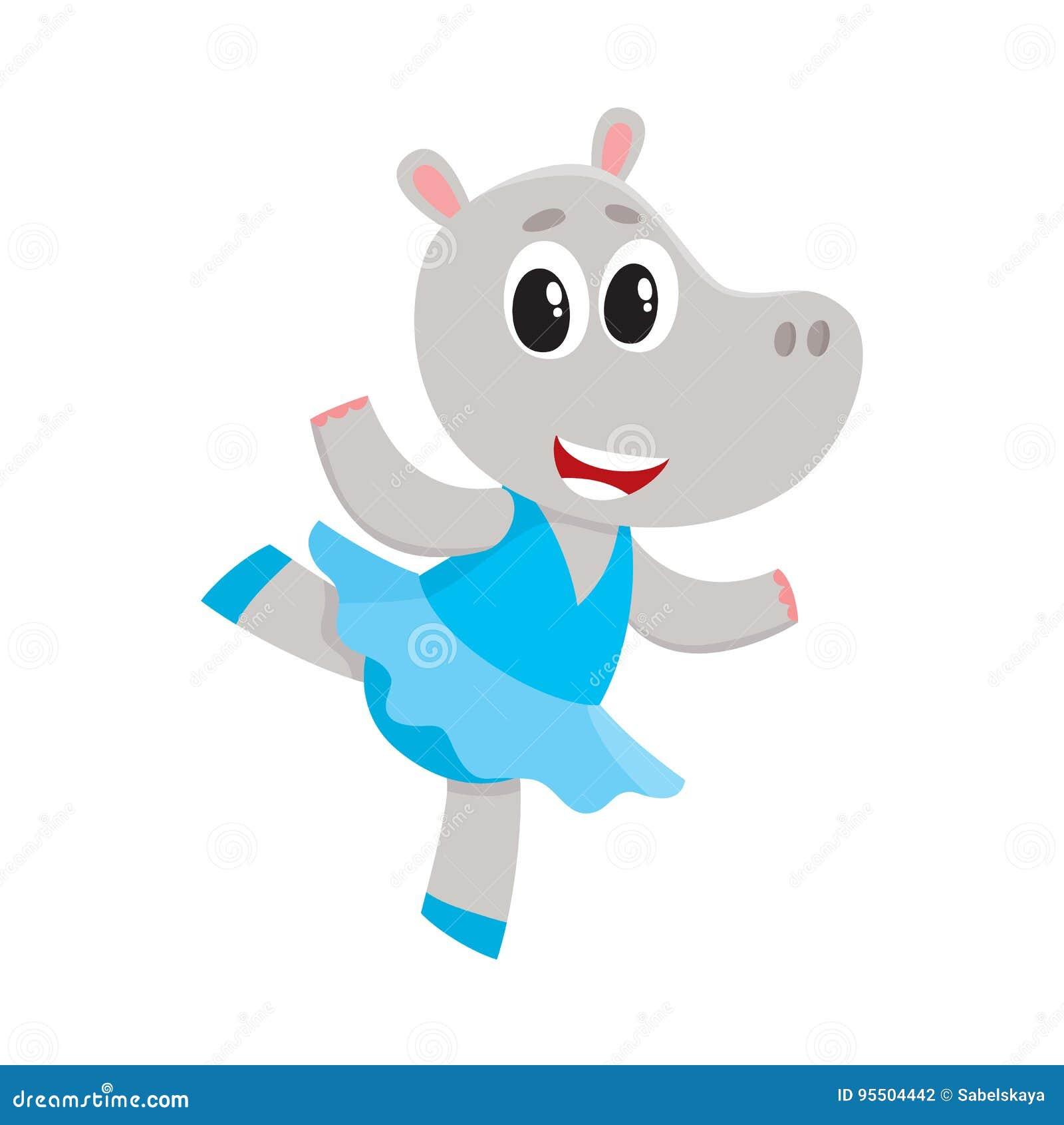 Petit caractère mignon heureux d hippopotame, danseur classique dans la jupe de tutu