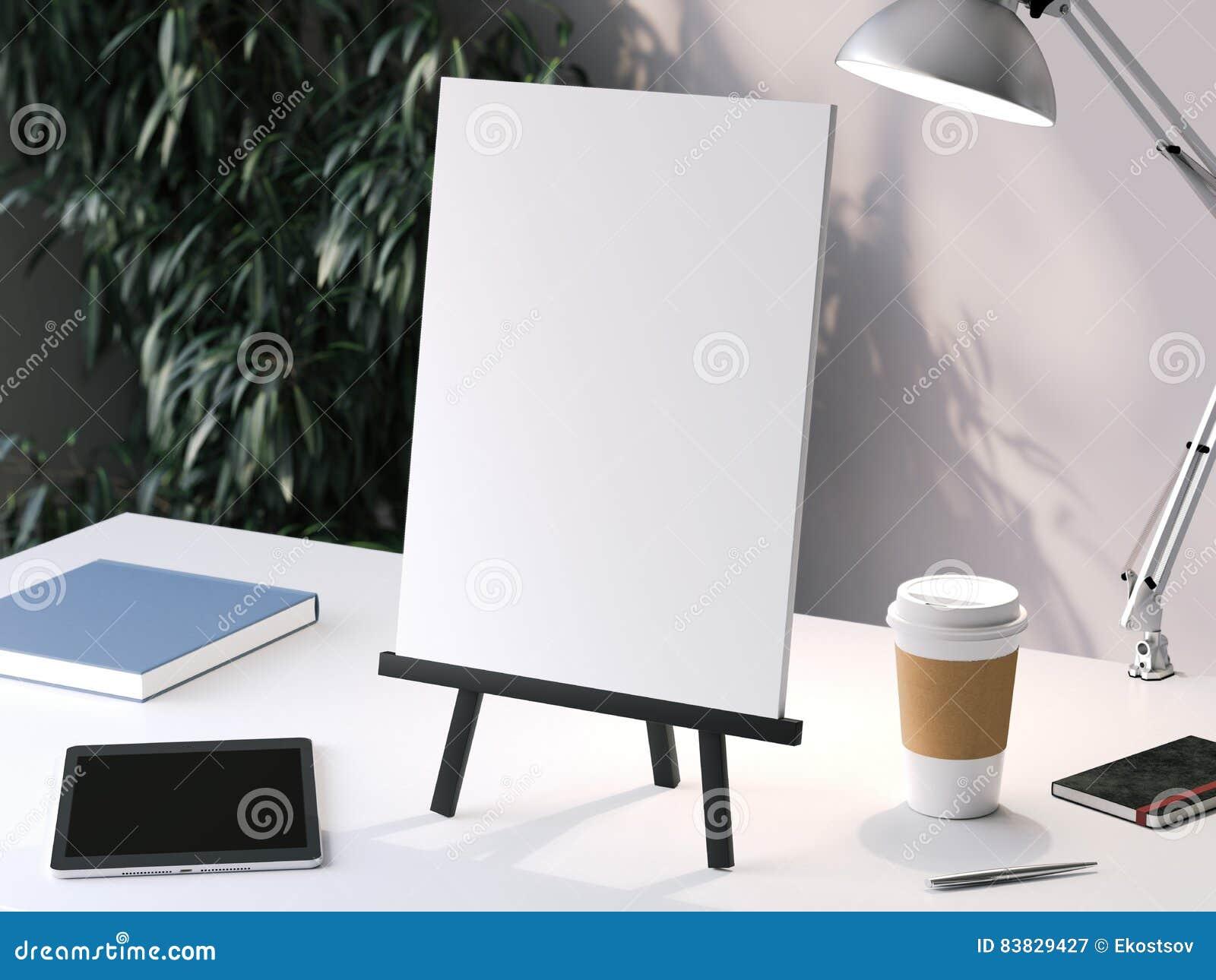 Petit chevalet noir avec le cadre vide rendu 3d