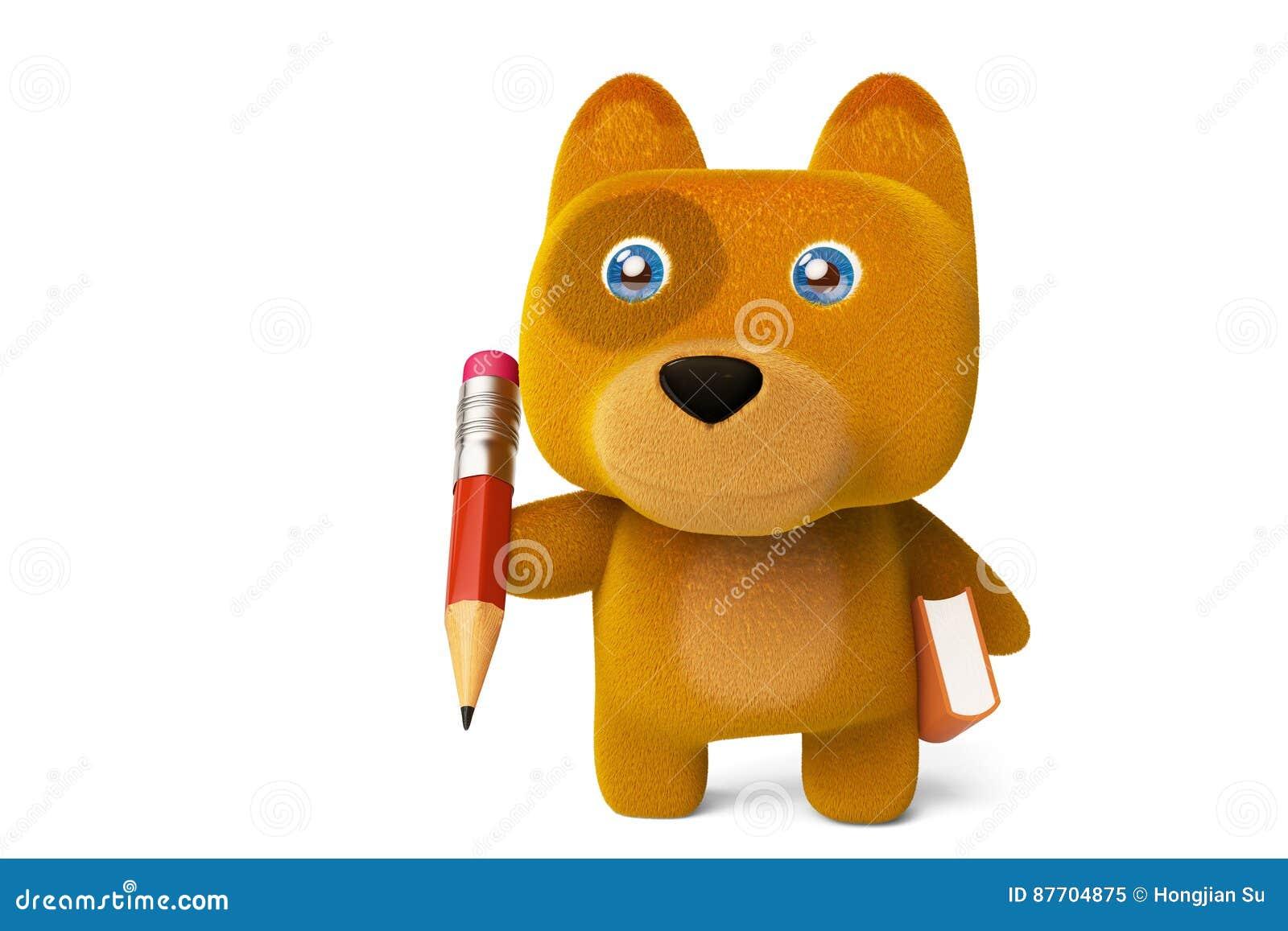 Petit chien mignon avec un crayon et un livre rendu 3d
