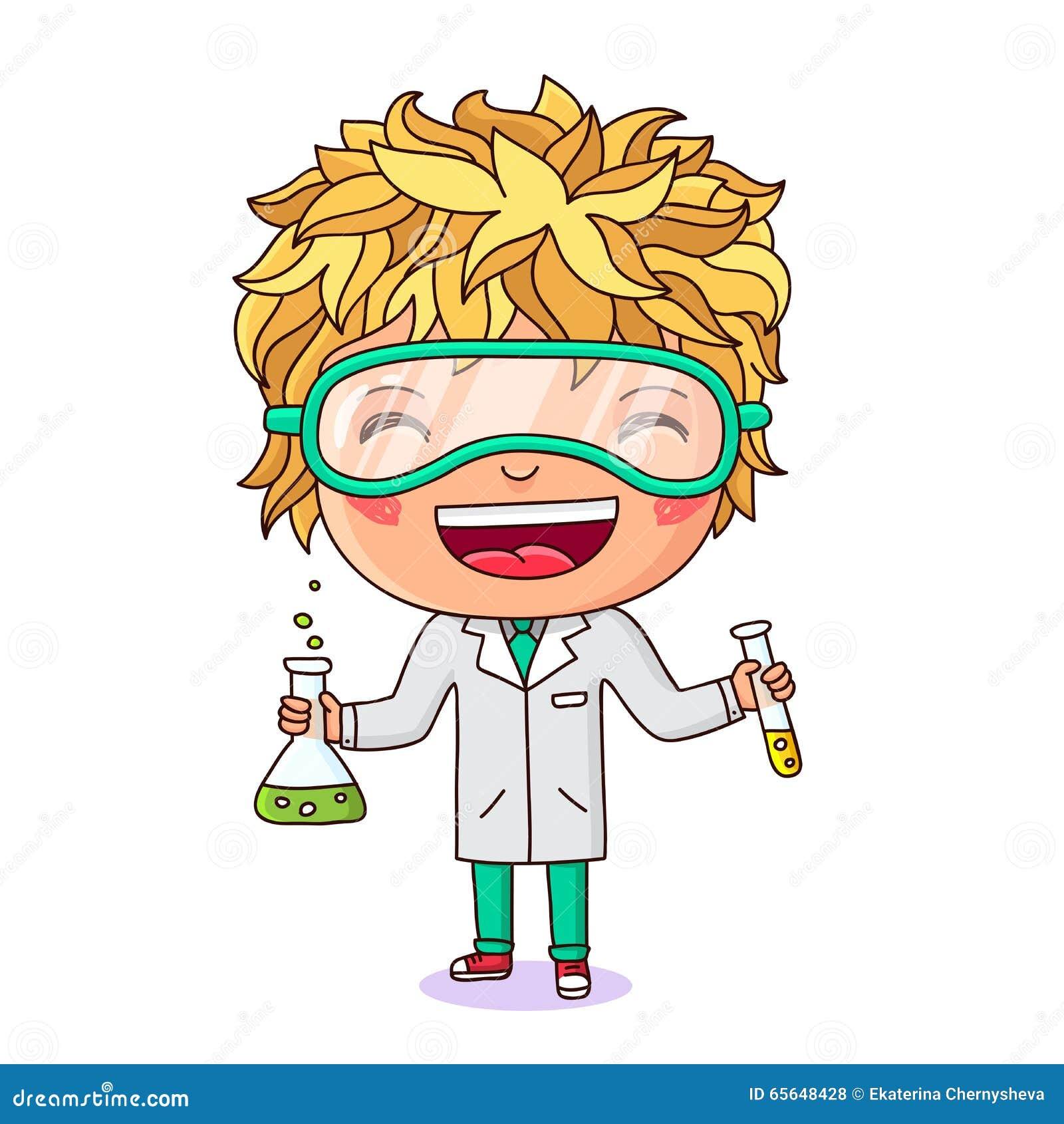 Petit chimiste avec des tubes à essai à disposition