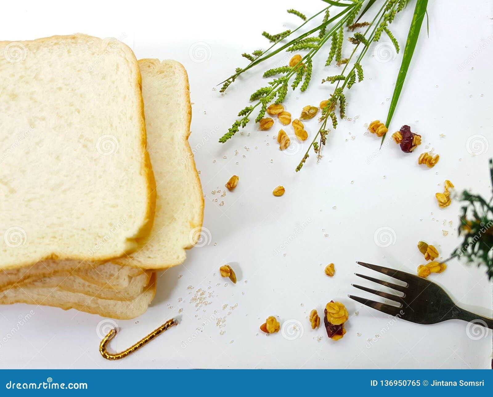 Petit déjeuner de pain dans le matin