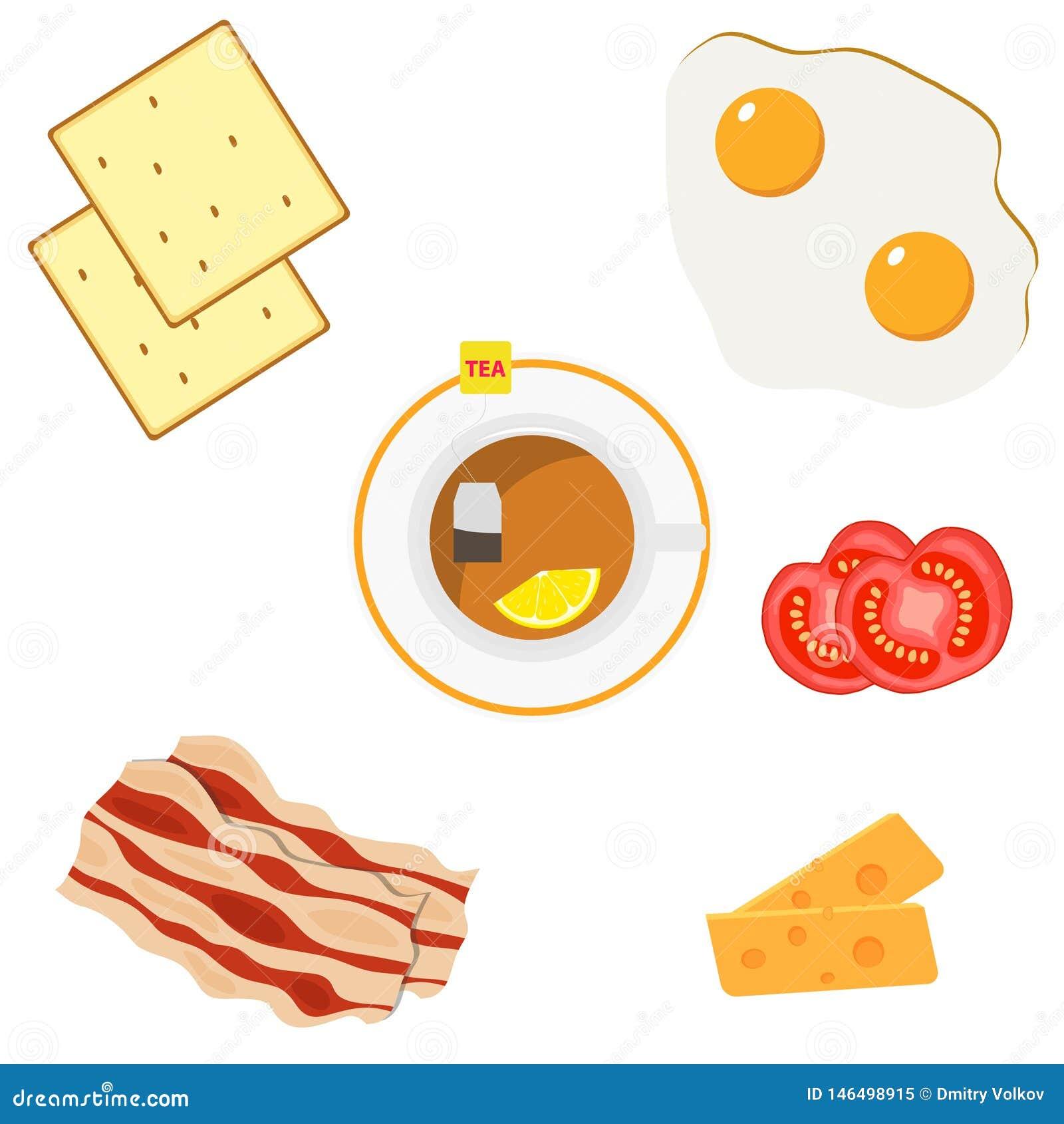 Petit déjeuner, un ensemble de produits pour des oeufs au plat de petit déjeuner, lard, fromage, pain grillé, tomates coupées en