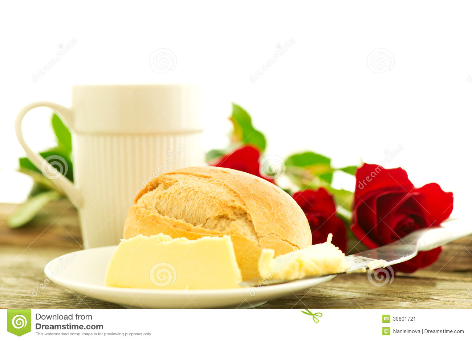 petit d jeuner romantique avec des fleurs image stock image 30801721. Black Bedroom Furniture Sets. Home Design Ideas