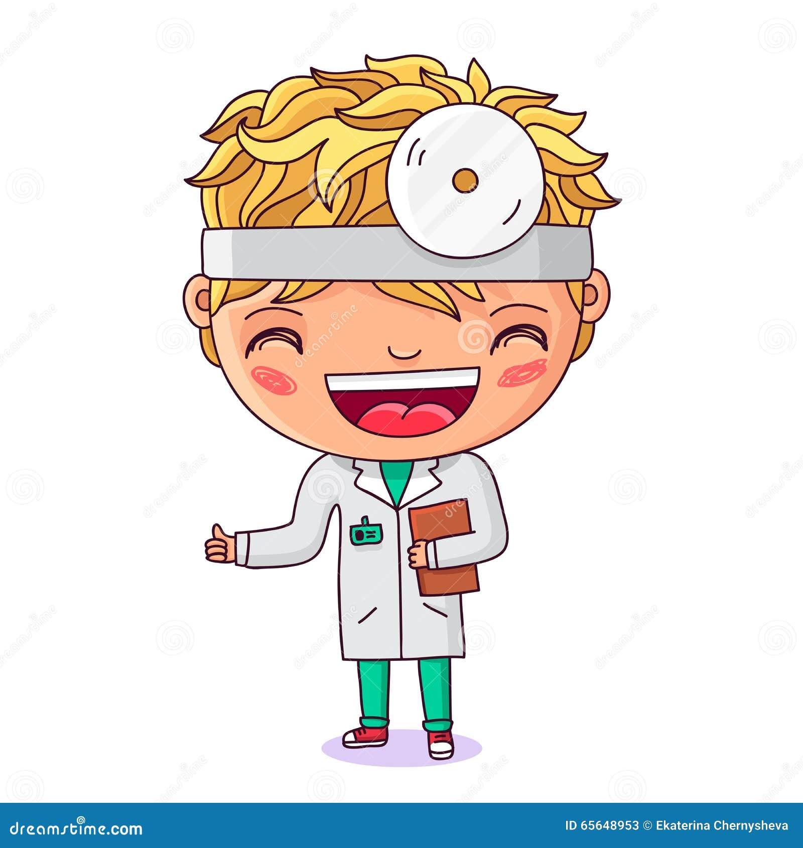 Petit docteur avec un dossier à disposition