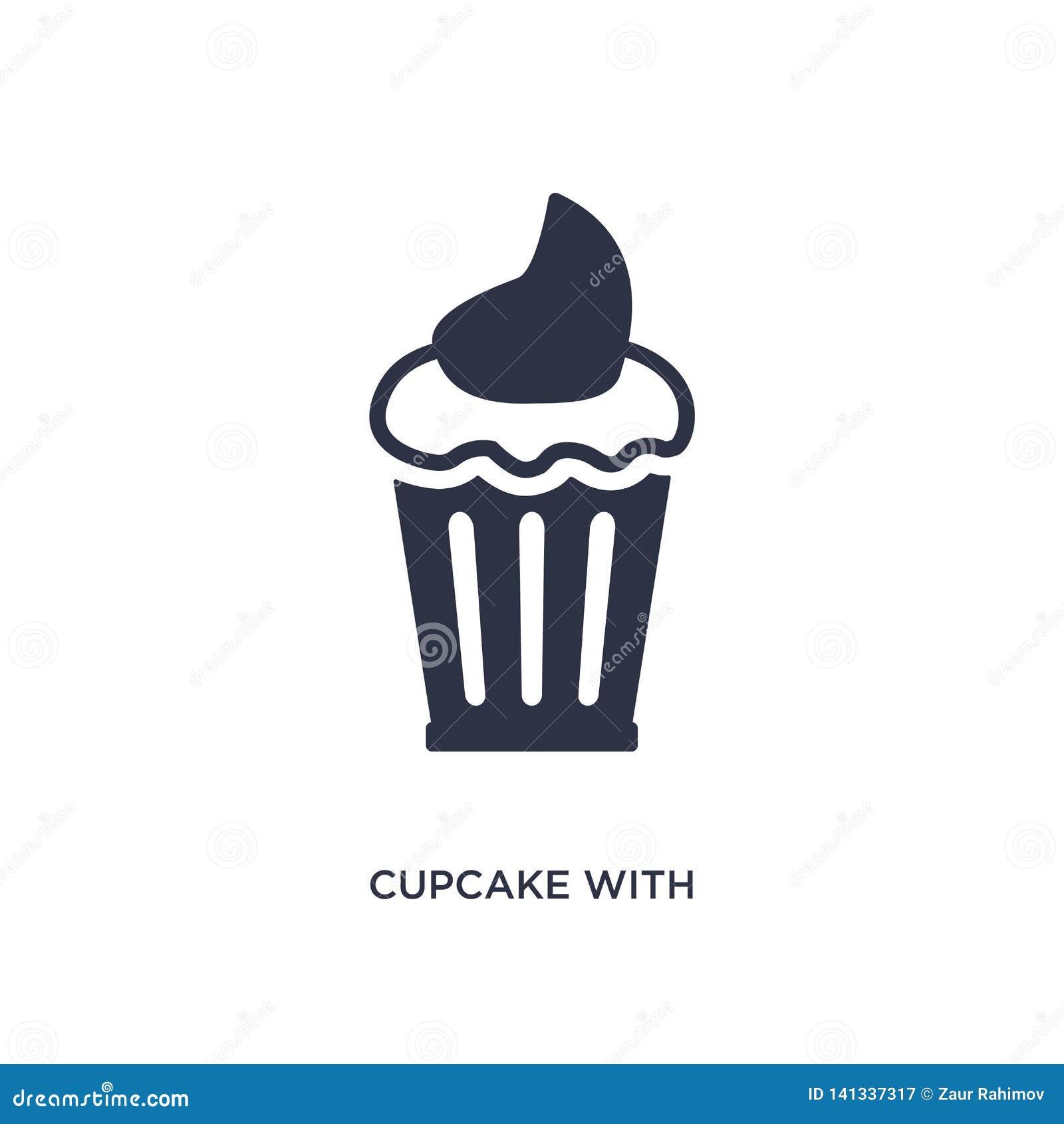 Petit gâteau avec l icône de cerise sur le fond blanc Illustration simple d élément de concept de Bistros et de restaurant