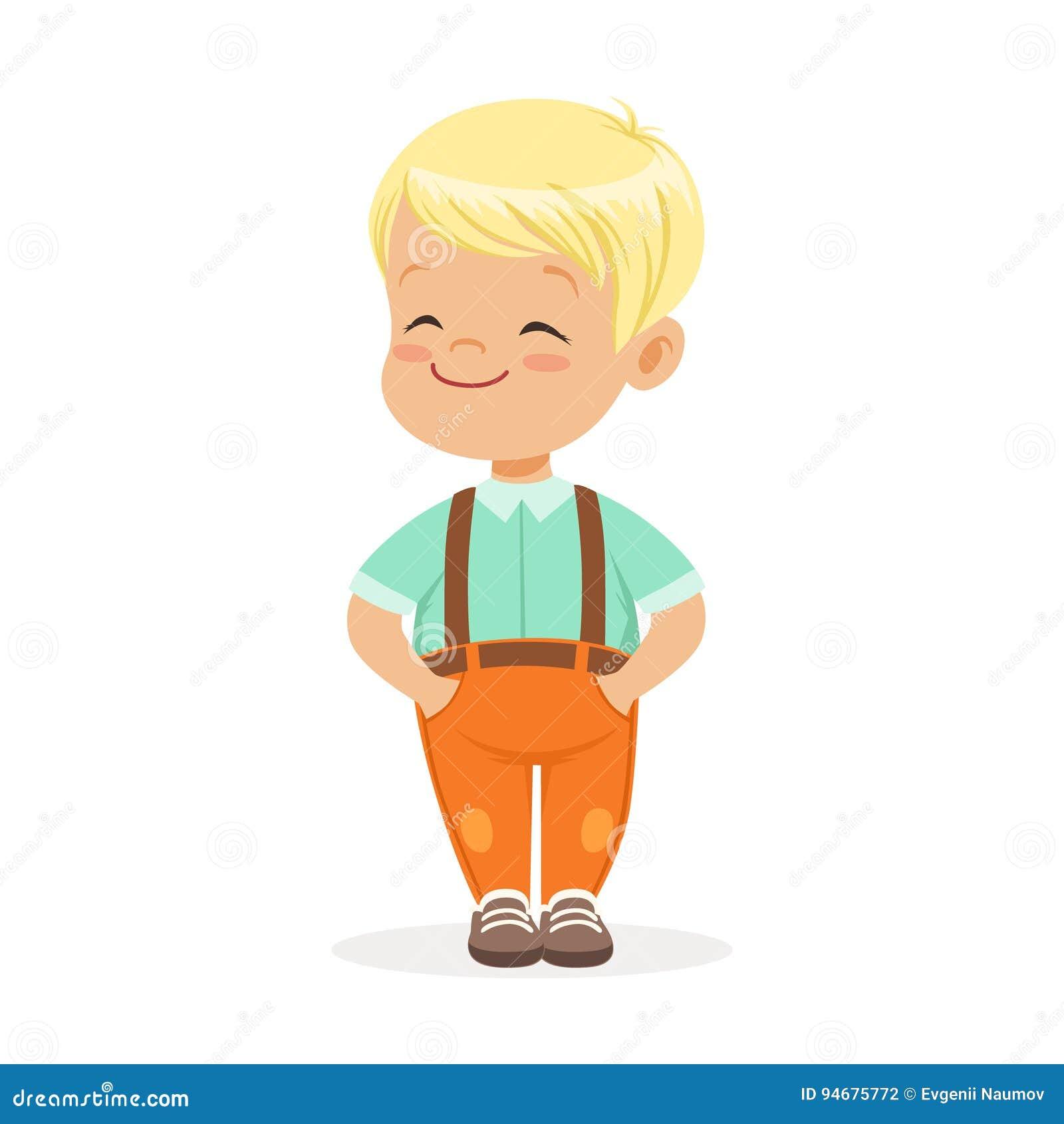 Petit Garçon Blond De Smilng Doux Tenant L Illustration