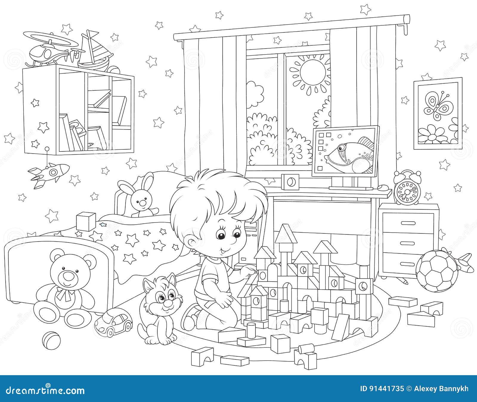 Petit garçon jouant avec des briques