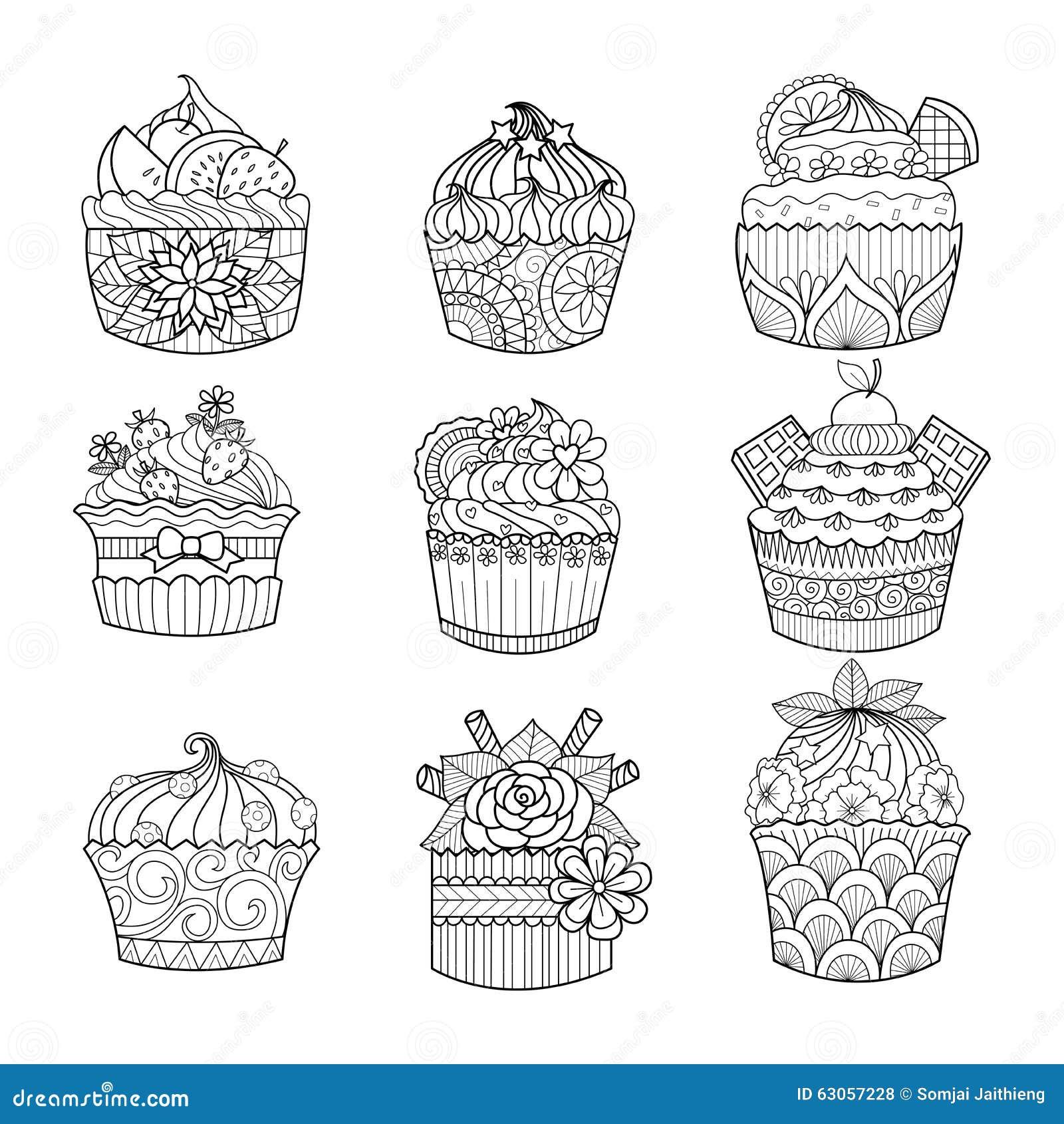 Afbeelding Cupcake Kleurplaat Petit G 226 Teau Tir 233 Par La Main Pour Livre De Coloriage Pour