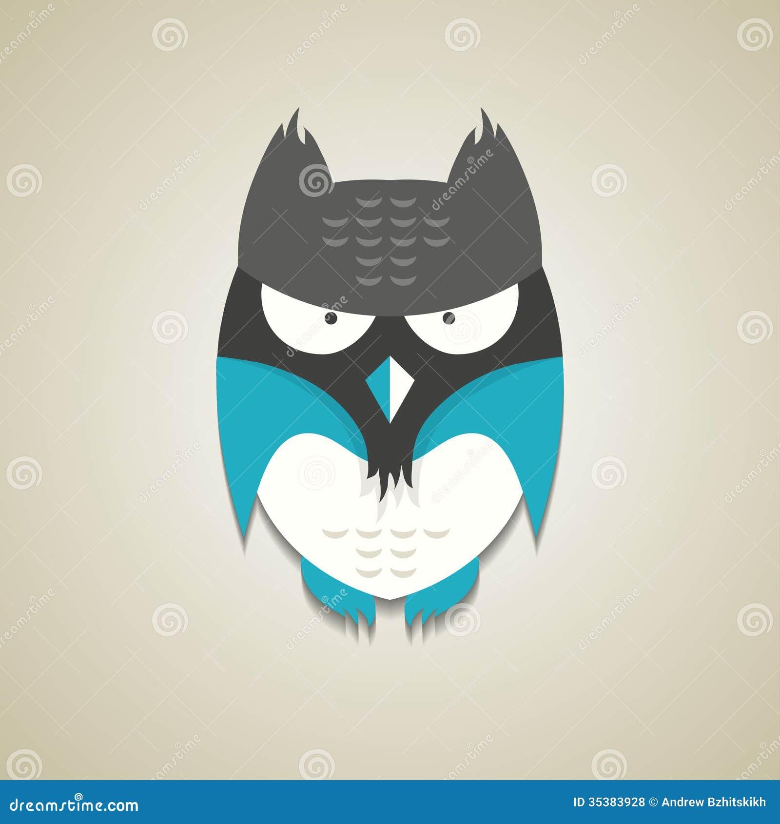 Petit hibou bleu et gris mignon de bande dessinée
