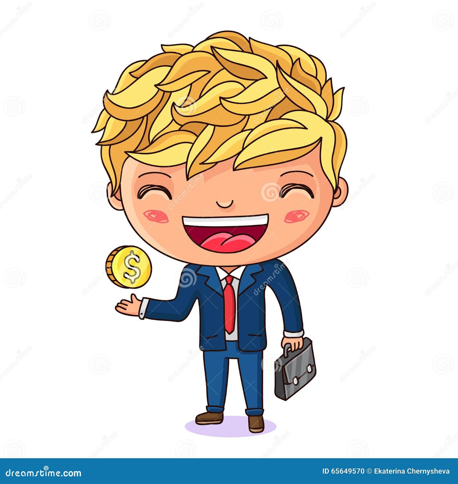 Petit homme d affaires avec une serviette et une pièce de monnaie dans sa main