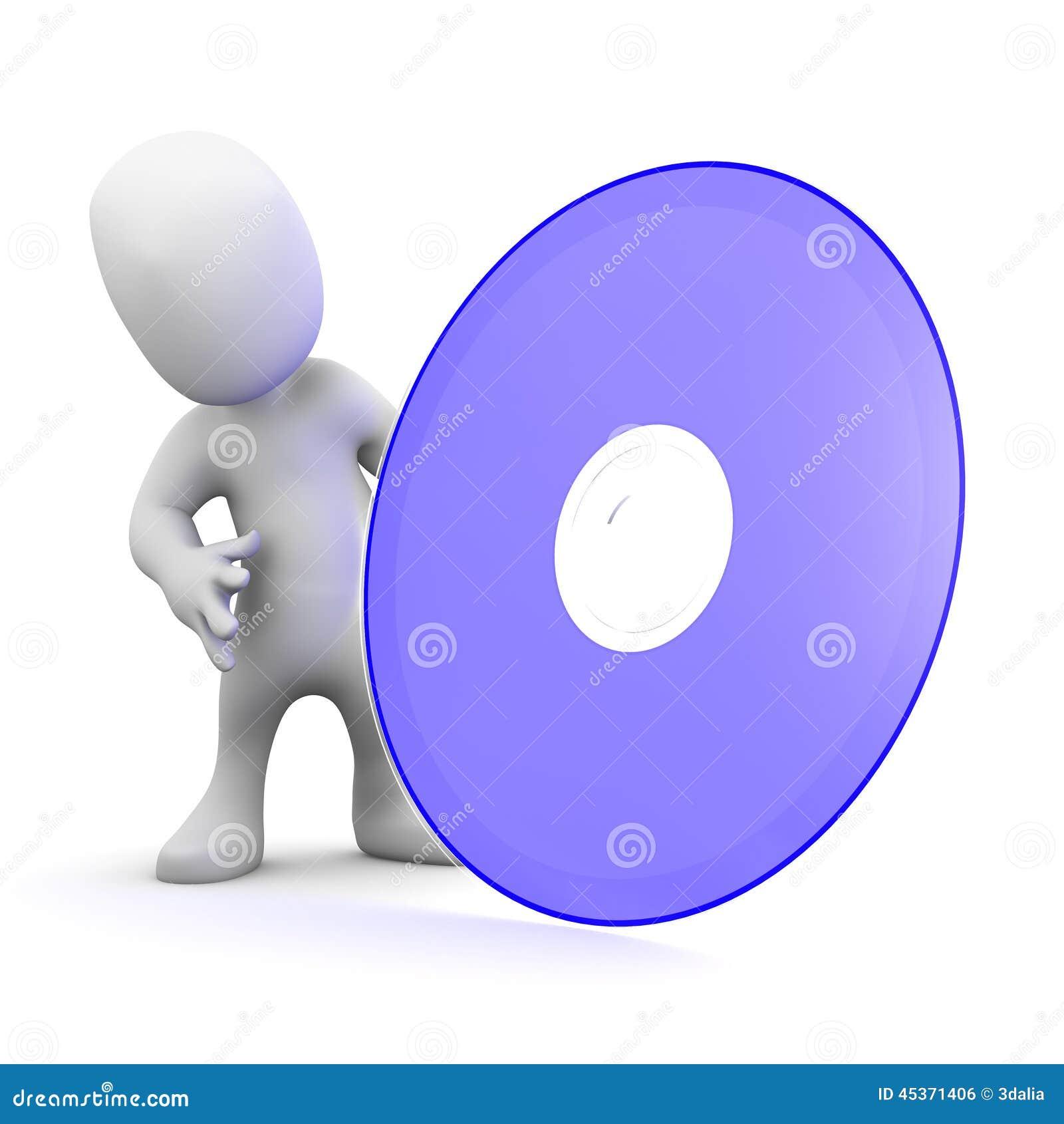 Petit homme 3d avec un DVD