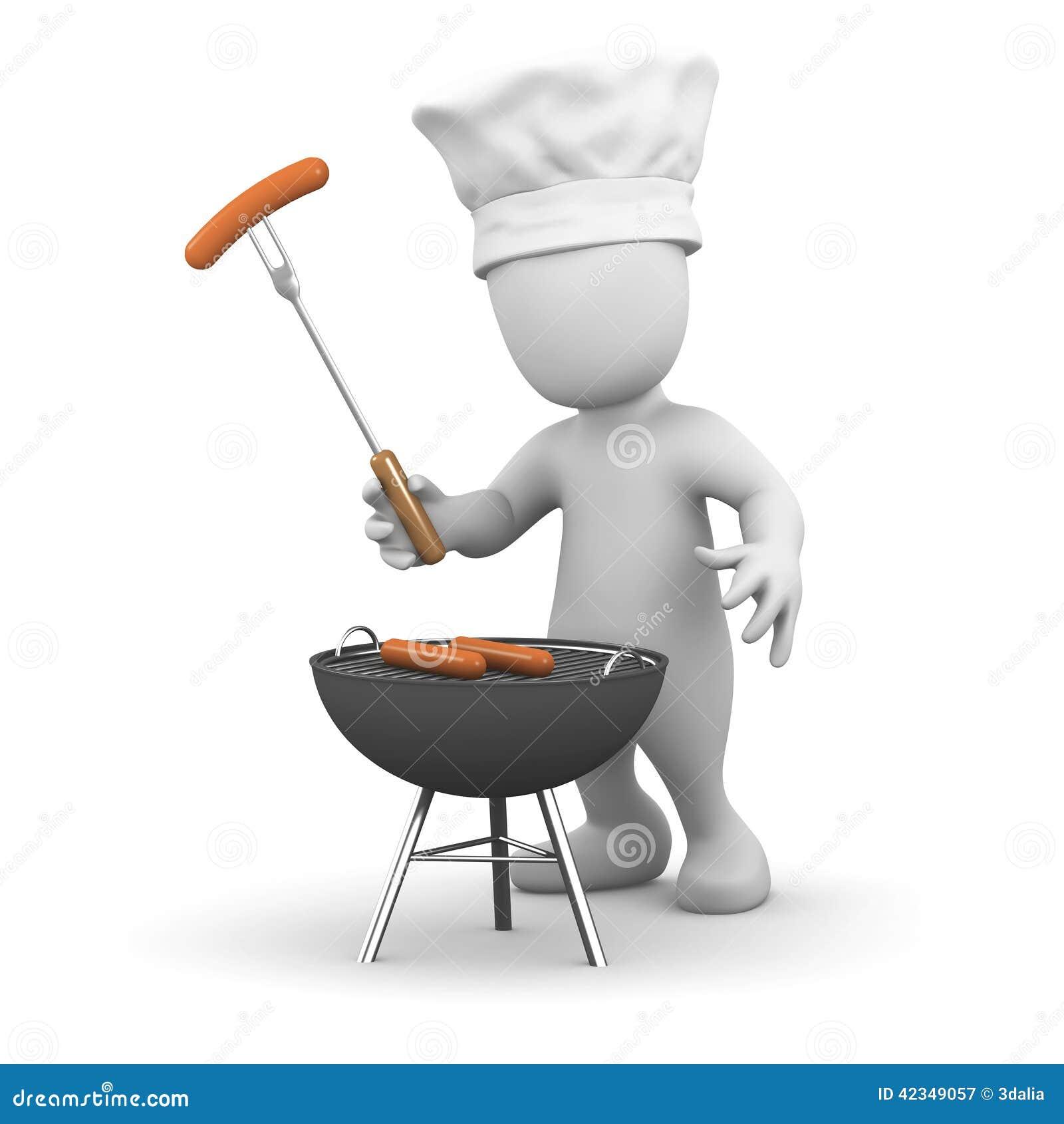 Petit Homme 3d Faisant Cuire Un Barbecue Illustration