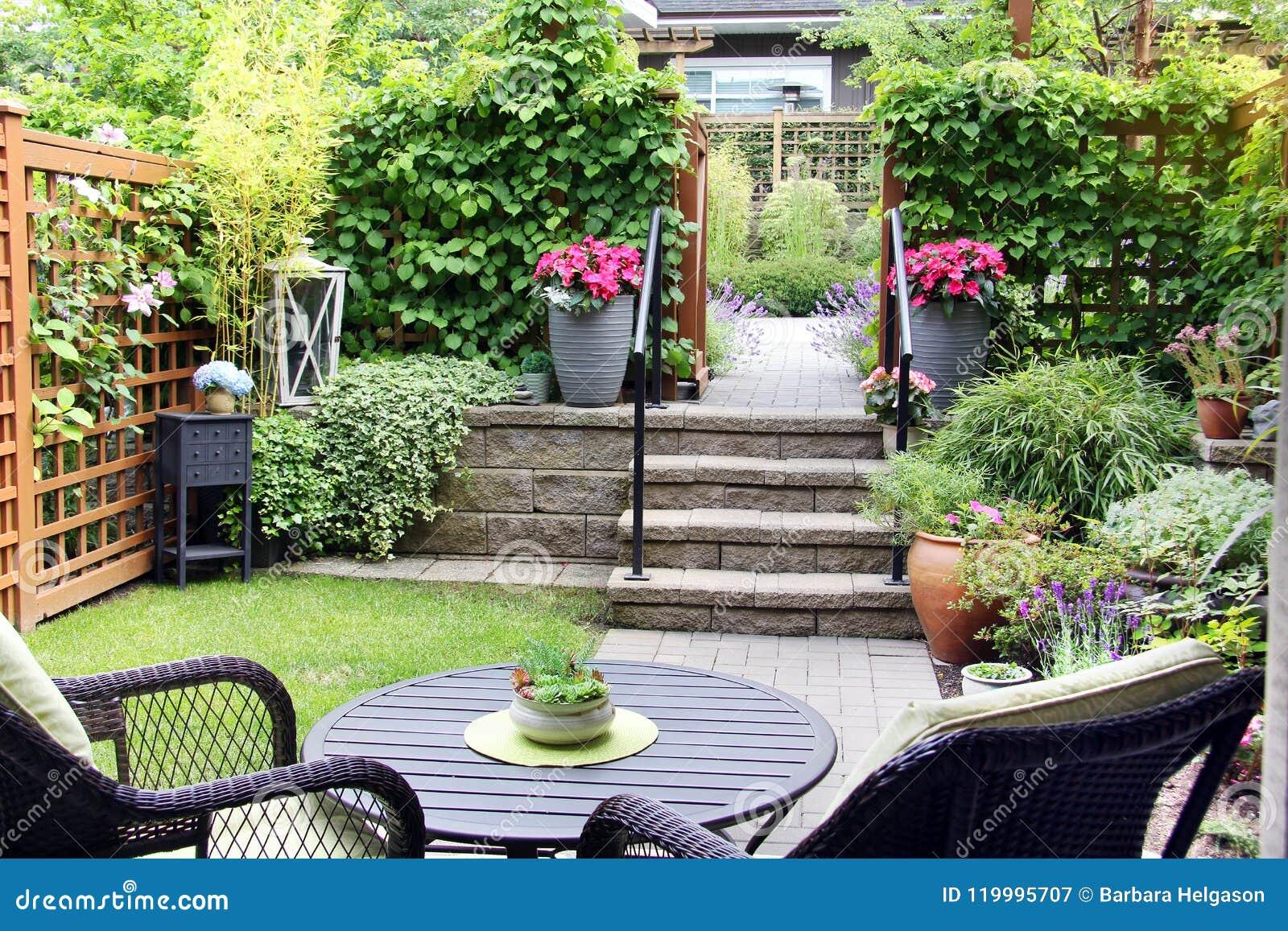 Petit Jardin De Maison Urbaine Image stock - Image du nature, beau ...