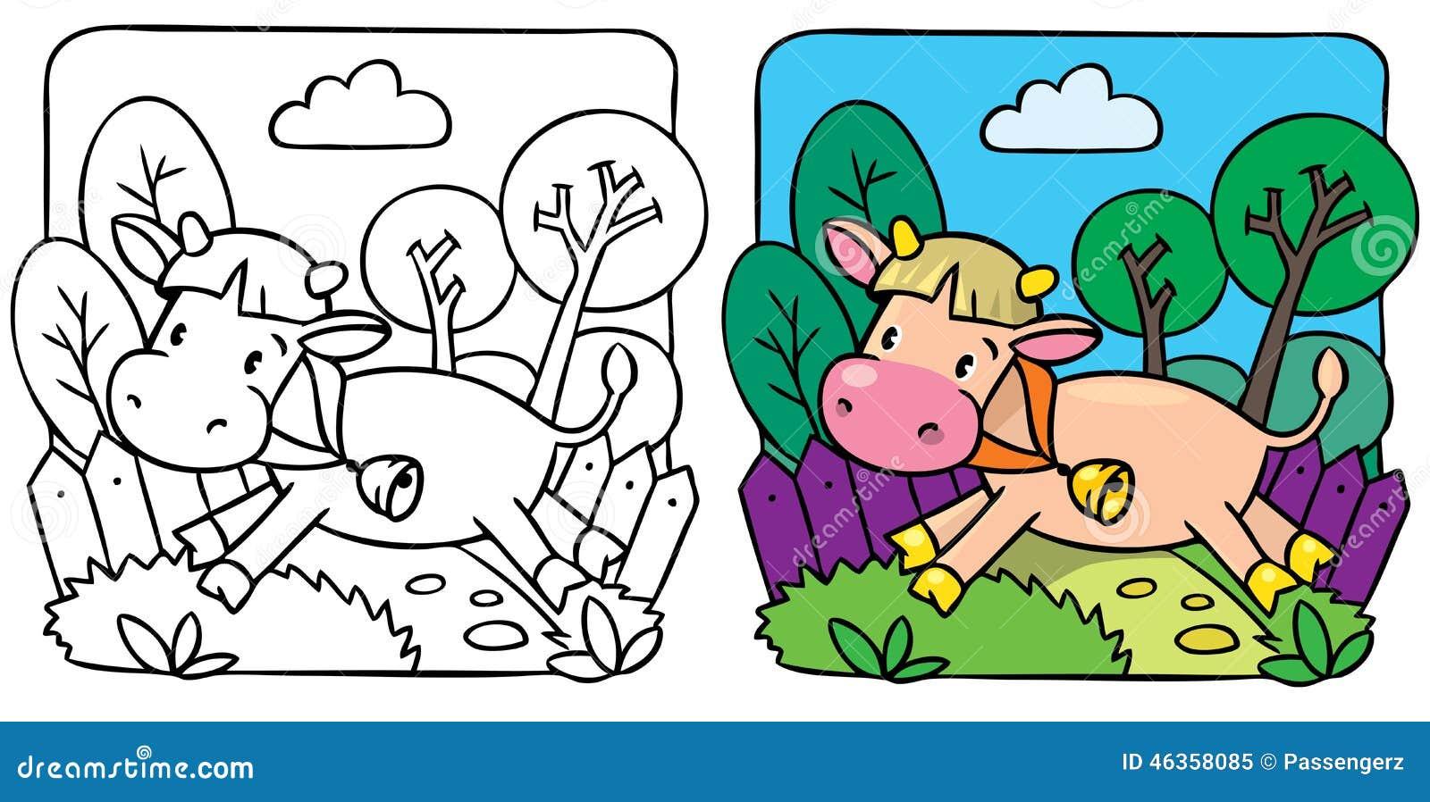 Petit livre de coloriage de vache ou de veau illustration stock illustration du amusement - Coloriage petit veau ...