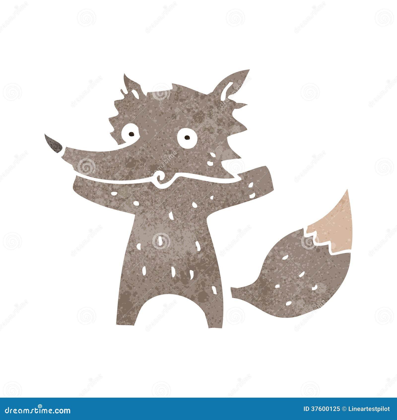 Petit loup de r tro bande dessin e illustration de vecteur - Petit loup dessin ...