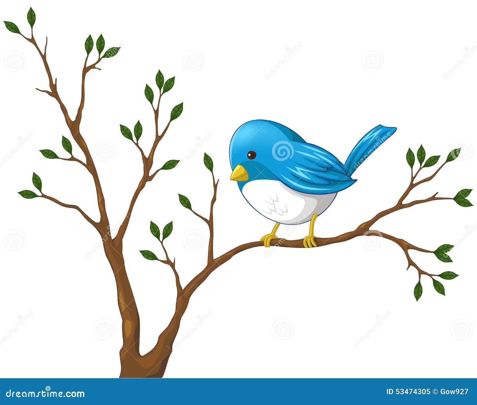 Petit Oiseau Bleu Mignon Sur La Branche De L Arbre Illustration De