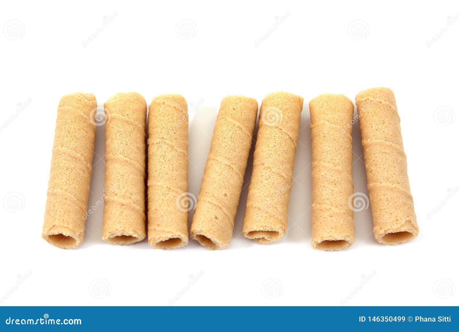 Petit pain croustillant de noix de coco d isolement sur le fond blanc Dessert de Tong Muan Thai Batons de pain d isolement