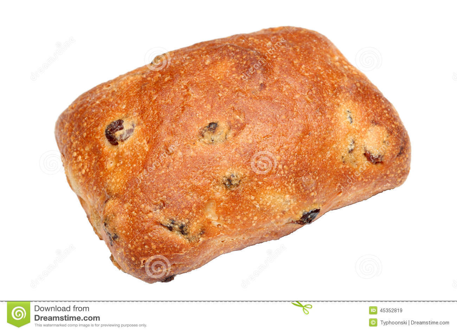 Petit pain de pain avec des raisins secs et des groseilles