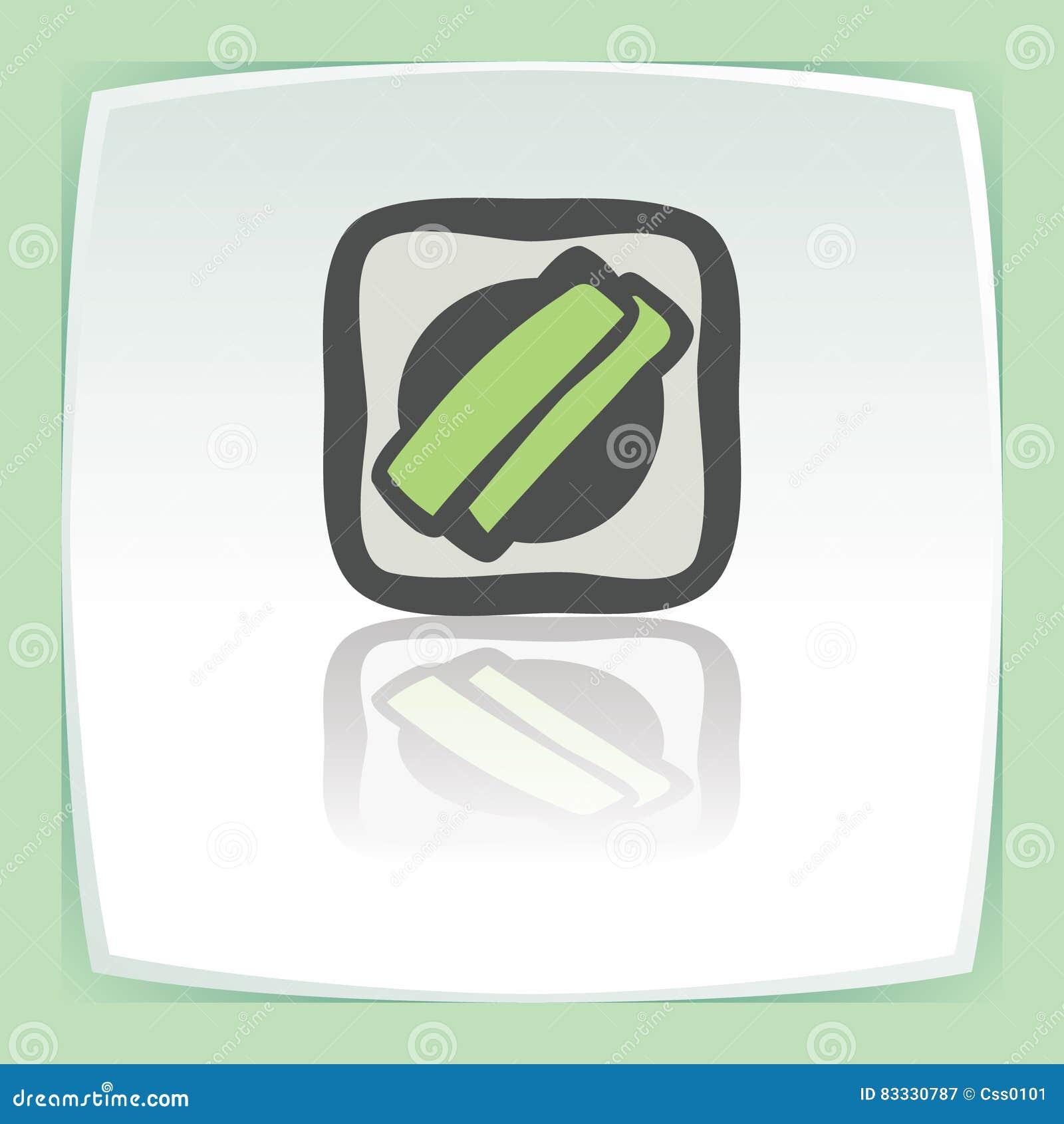 Petit pain de riz de sushi d ensemble de vecteur avec l icône de nourriture du Japon d herbe verte moderne