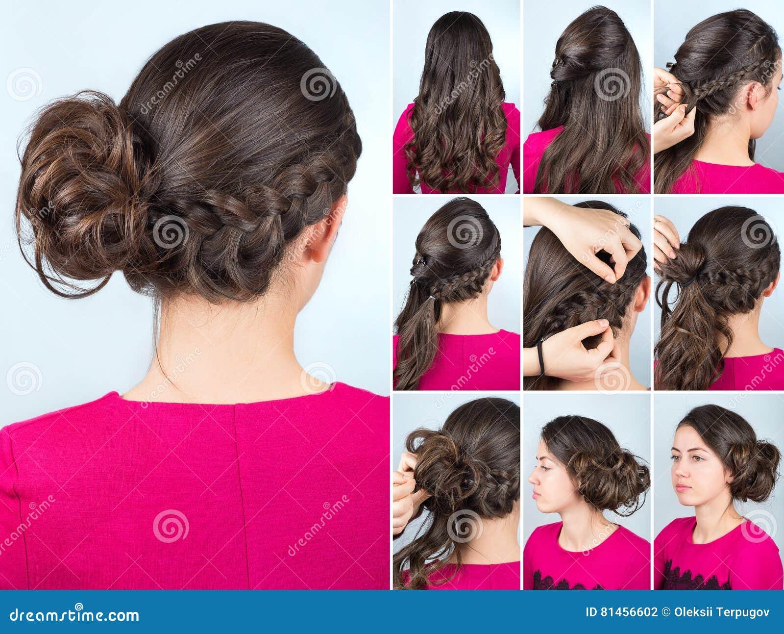Petit pain et tresse de coiffure sur le cours de cheveux bouclés