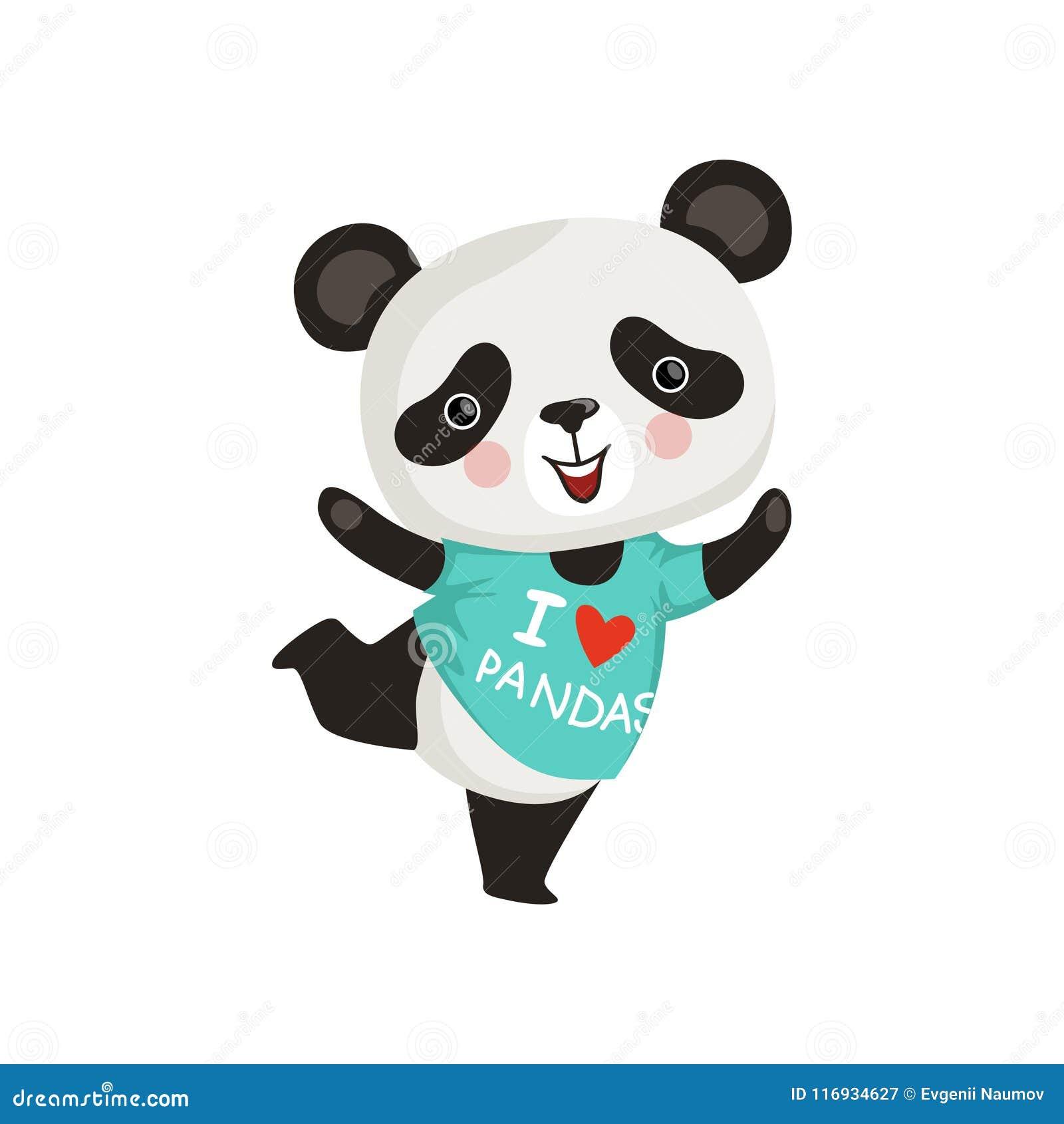 Petit Panda Drôle Dans Laction De Danse Ours En Bambou