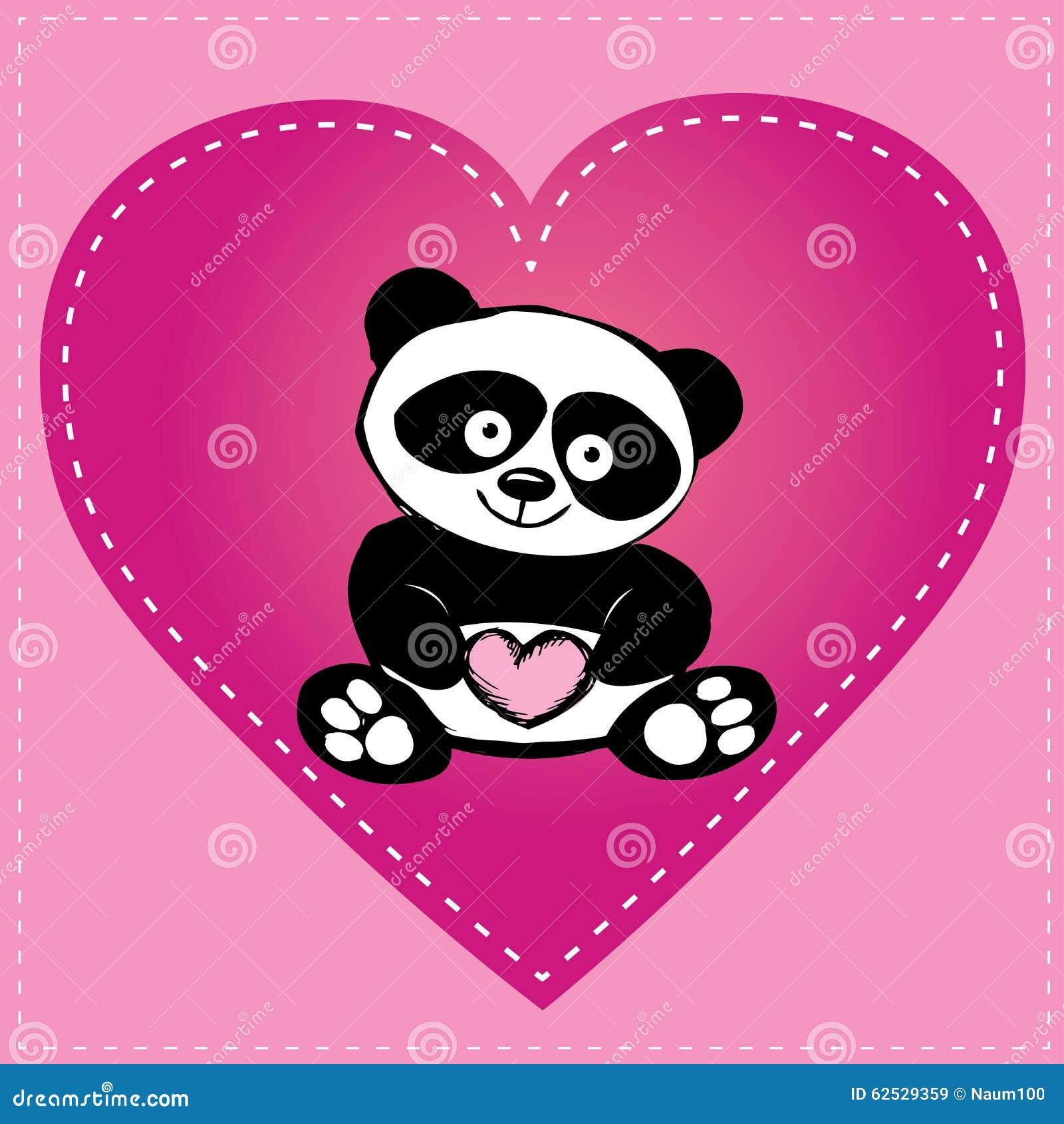 Petit Panda Mignon Au Coeur Dessin De Main Illustration De