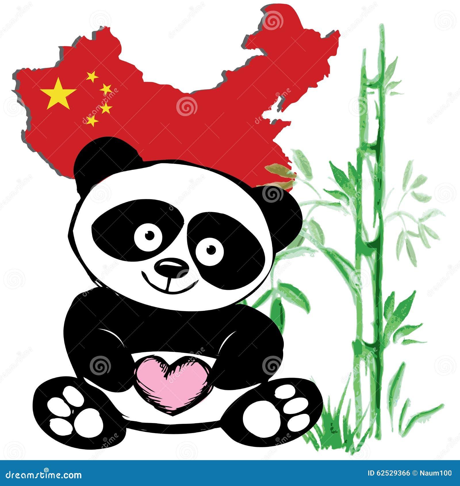 Petit Panda Mignon Avec Le Drapeau En Bambou Et Chinois