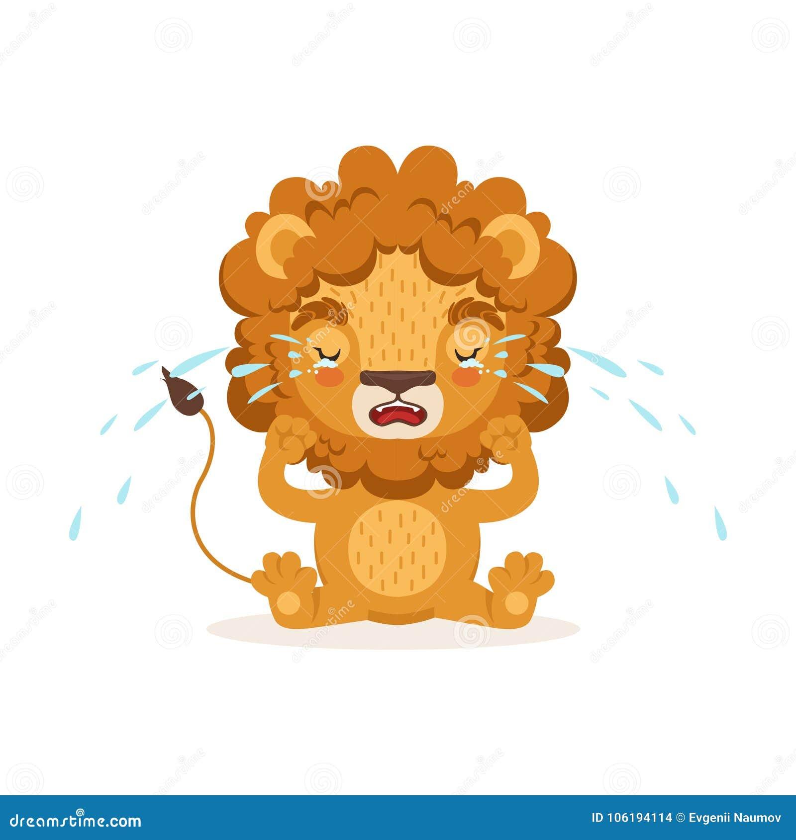 Petit Personnage De Dessin Animé Triste De Lion De Bébé Se Reposant