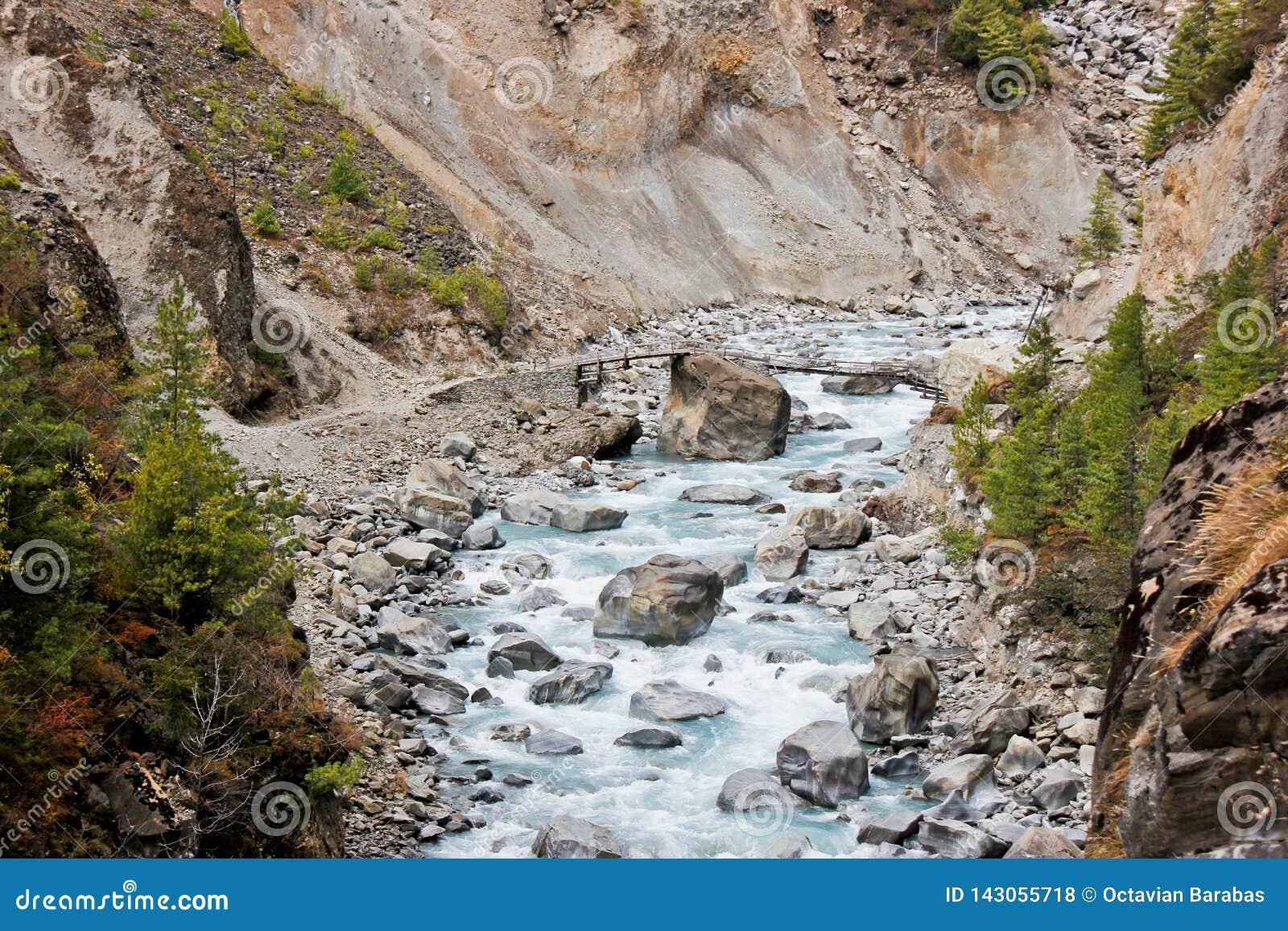 Petit pont au-dessus de rivière en Himalaya