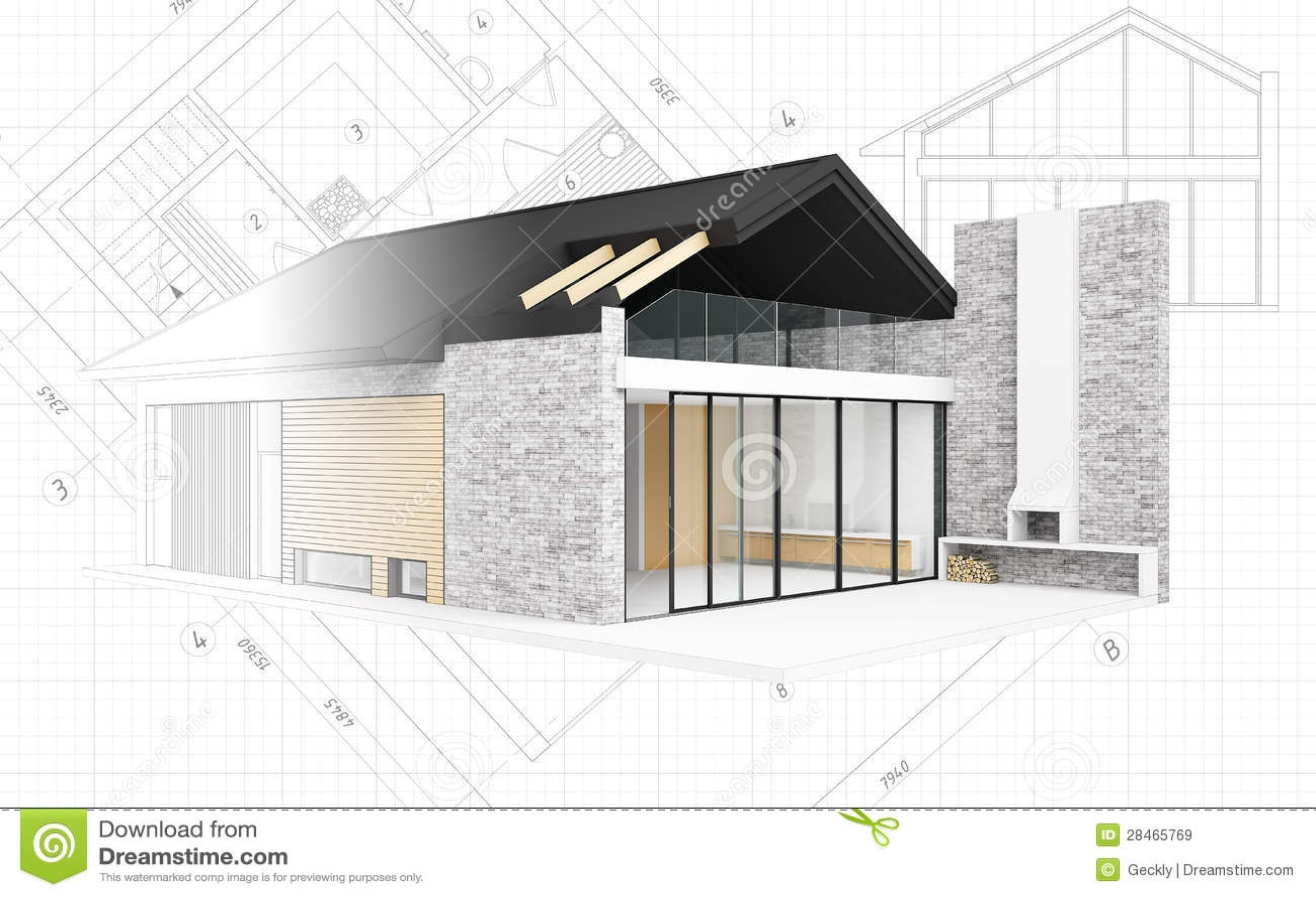 Petit projet moderne de maison illustration stock image for Projet 3d maison