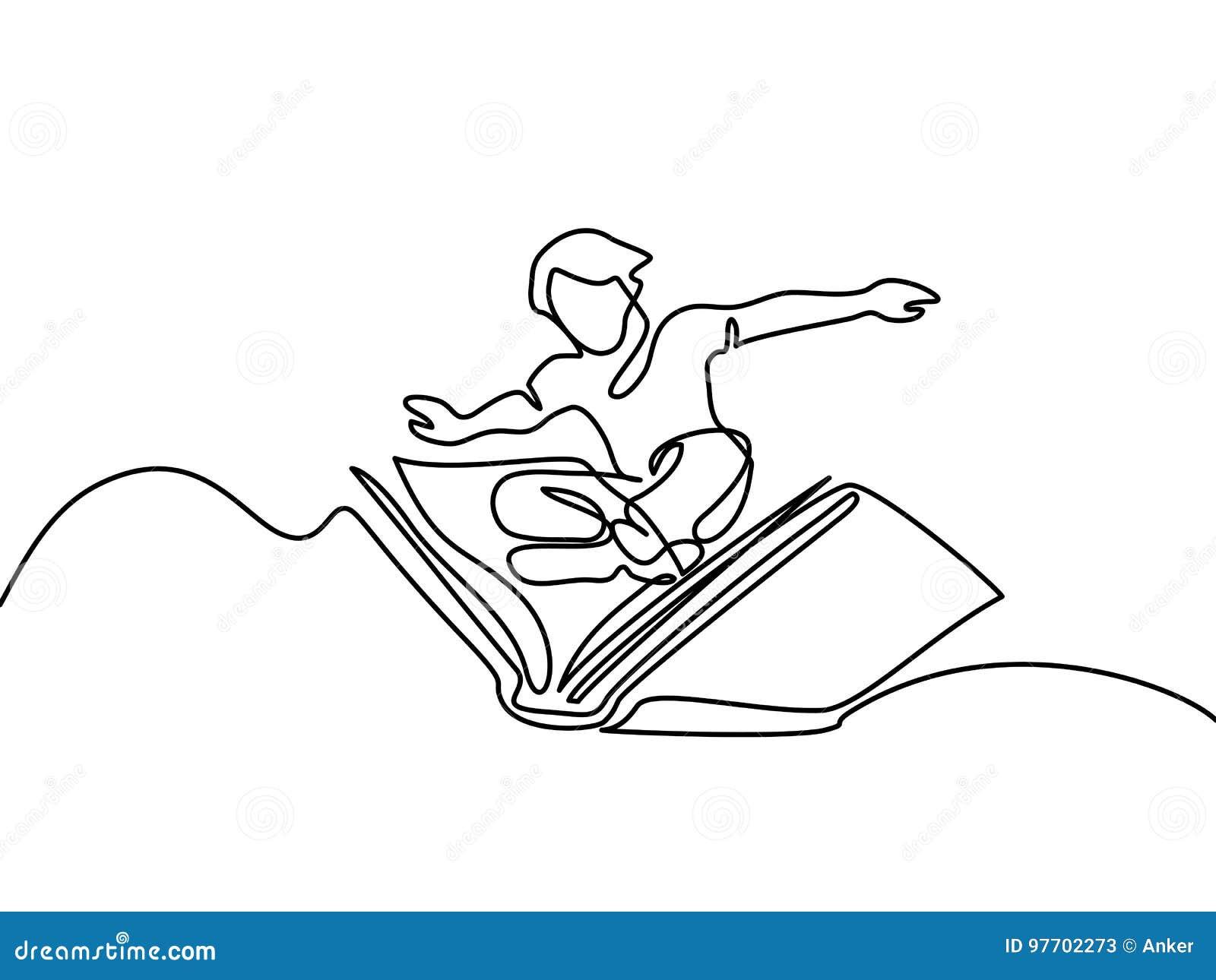 Petit Vol De Garcon Avec Le Livre Dans Le Ciel Illustration