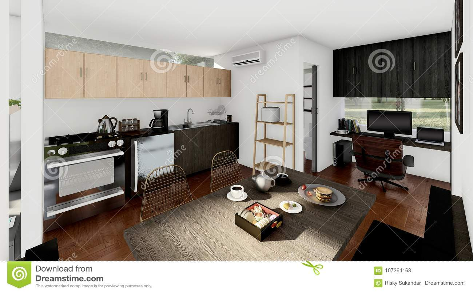 Emplacement Cuisine Dans La Maison petite cuisine avec diner et emplacement de travail