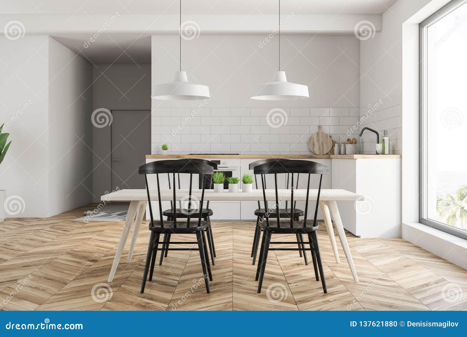 Petite Cuisine Blanche Avec La Table Illustration Stock