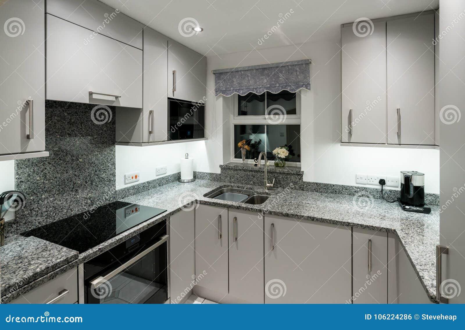 Petite Cuisine Moderne En Appartement Avec Le Plan De Travail De