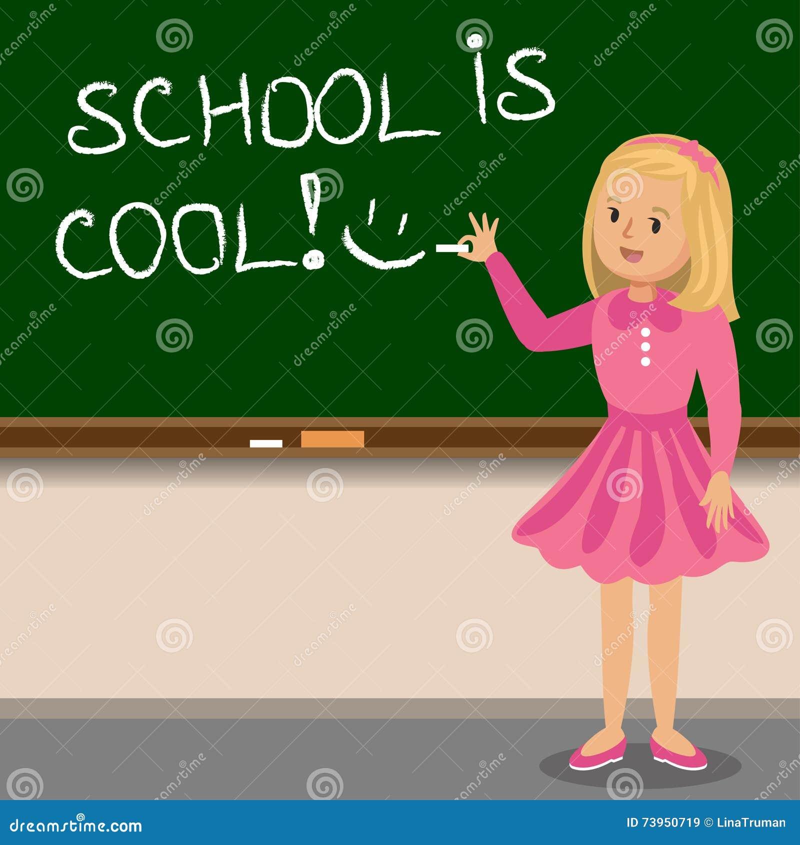 Petite fille crire avec la craie sur le tableau noir d 39 cole illustration de vecteur for Ecrire sur un tableau noir