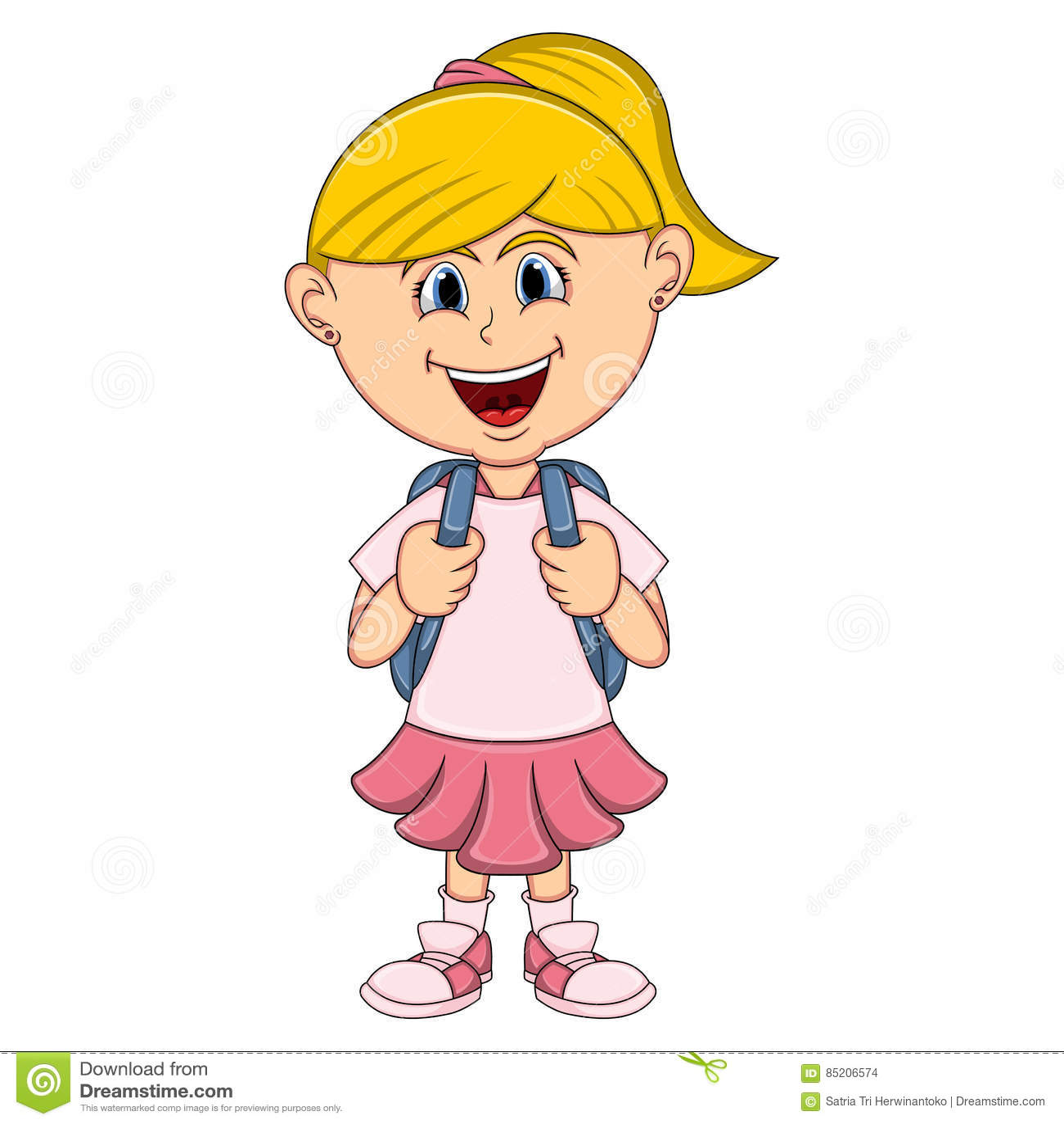 petite fille avec la bande dessin e de sac dos illustration de vecteur image 85206574. Black Bedroom Furniture Sets. Home Design Ideas