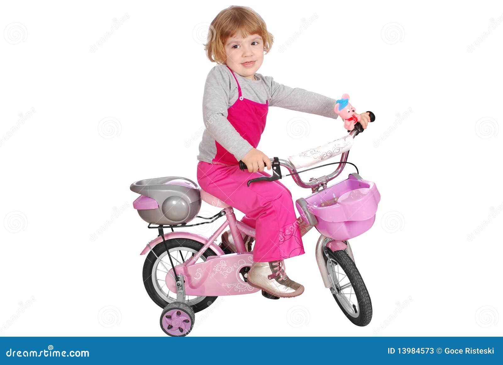 petite fille avec la bicyclette photos stock image 13984573. Black Bedroom Furniture Sets. Home Design Ideas