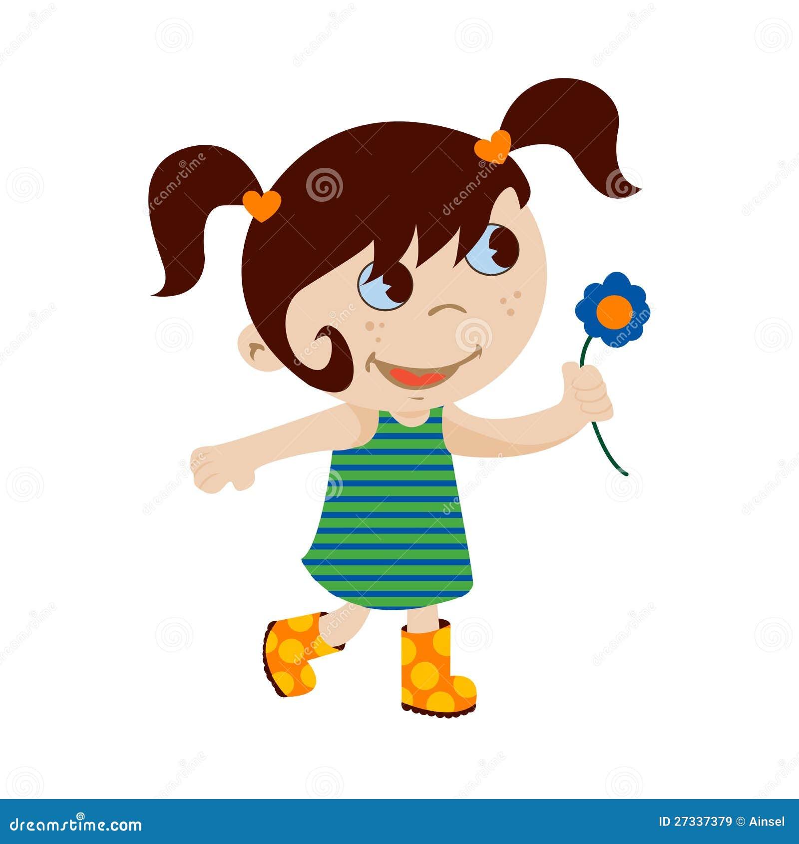 petite fille avec la fleur - Dessin De Petite Fille