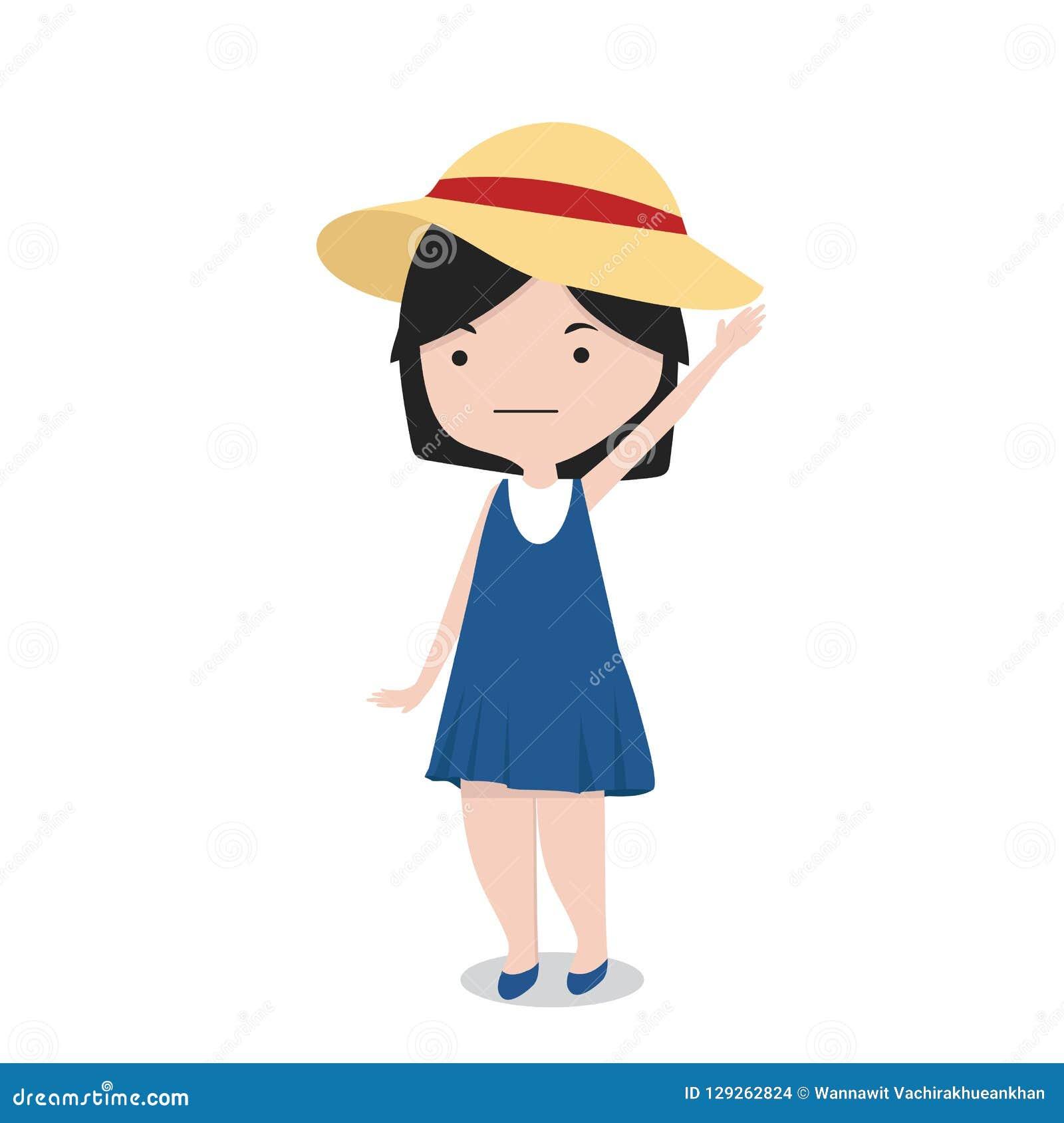 Petite Fille Avec Le Personnage De Dessin Animé De Chapeau
