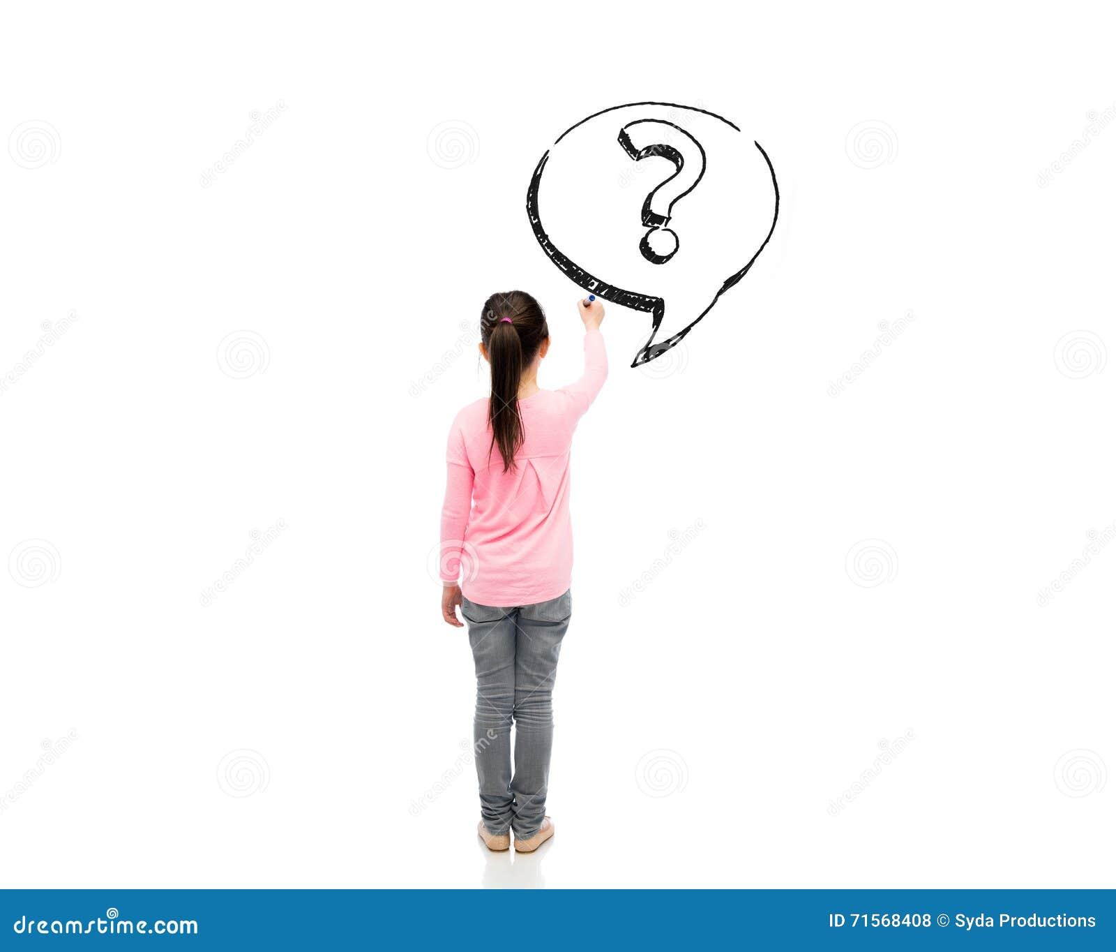 Petite Fille Avec Le Point D Interrogation De Dessin De