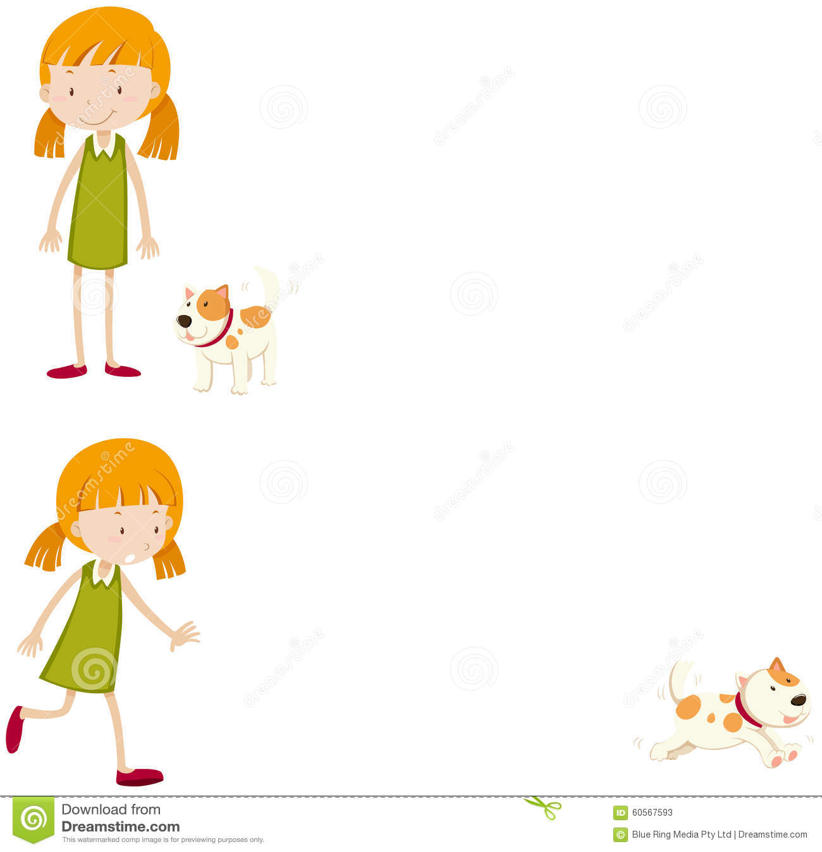 Petite Fille Avec Son Chien Illustration De Vecteur