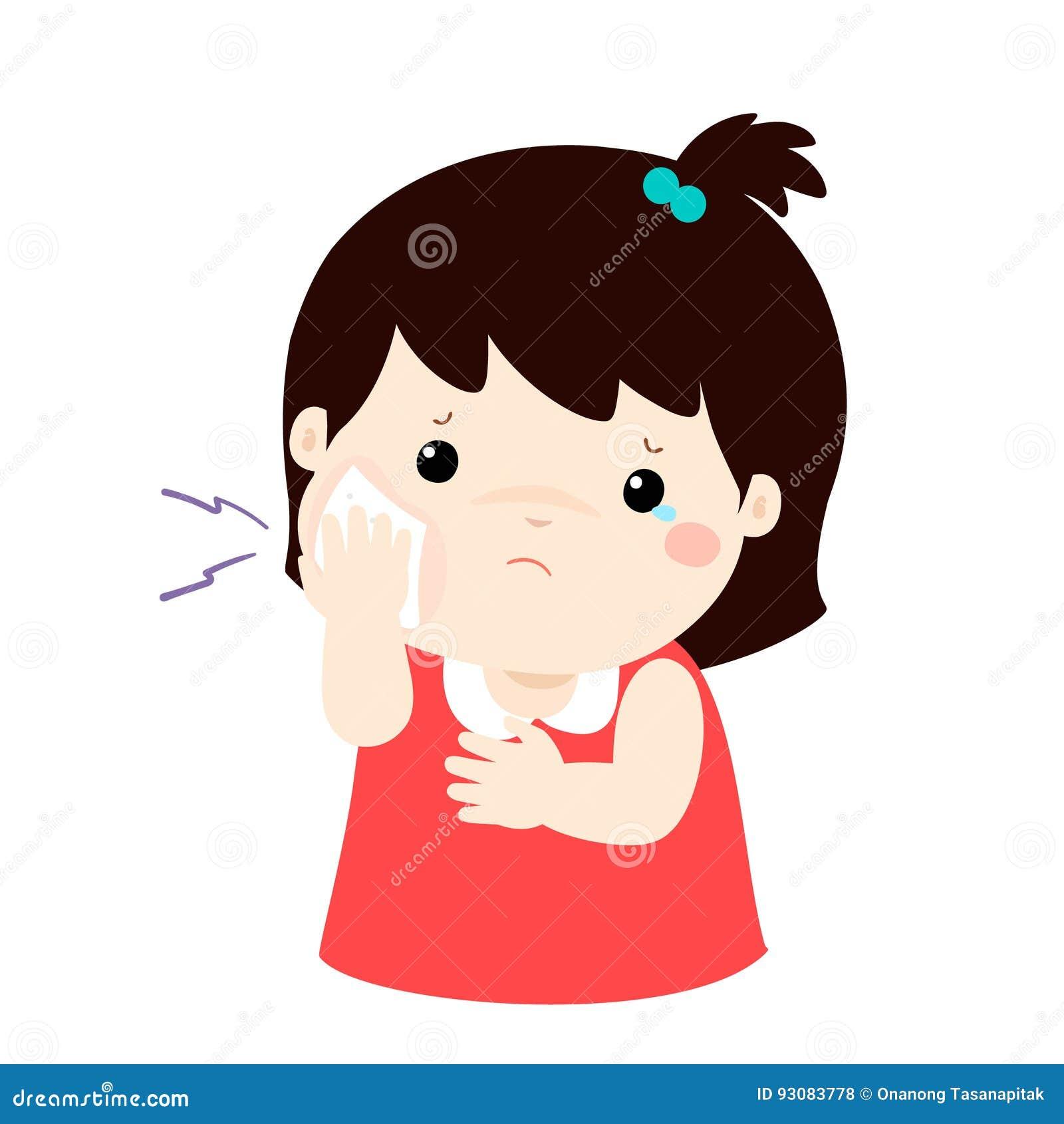 Petite fille ayant la bande dessinée de mal de dents